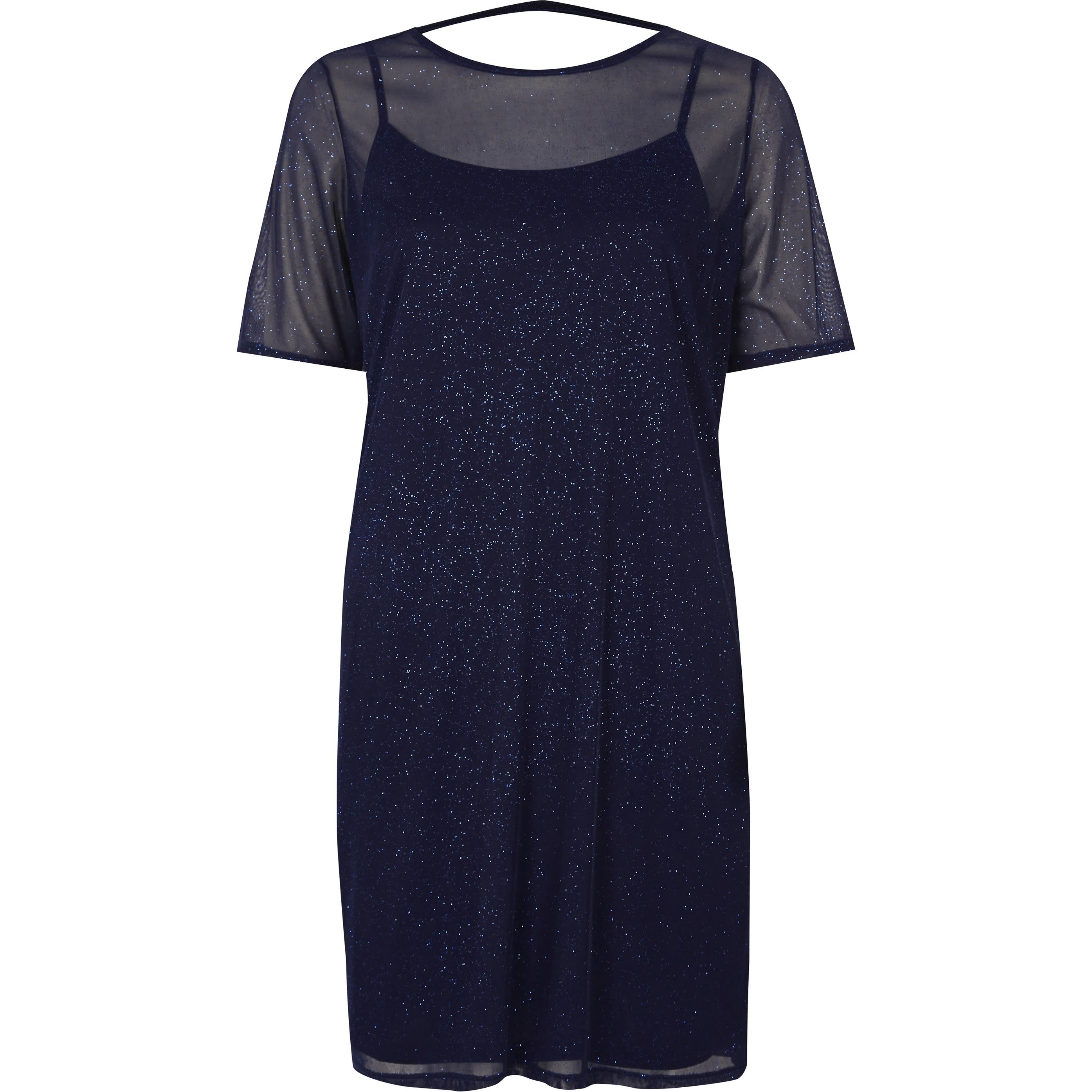 River Island Dark Blue glitter mesh T-shirt dress (6)