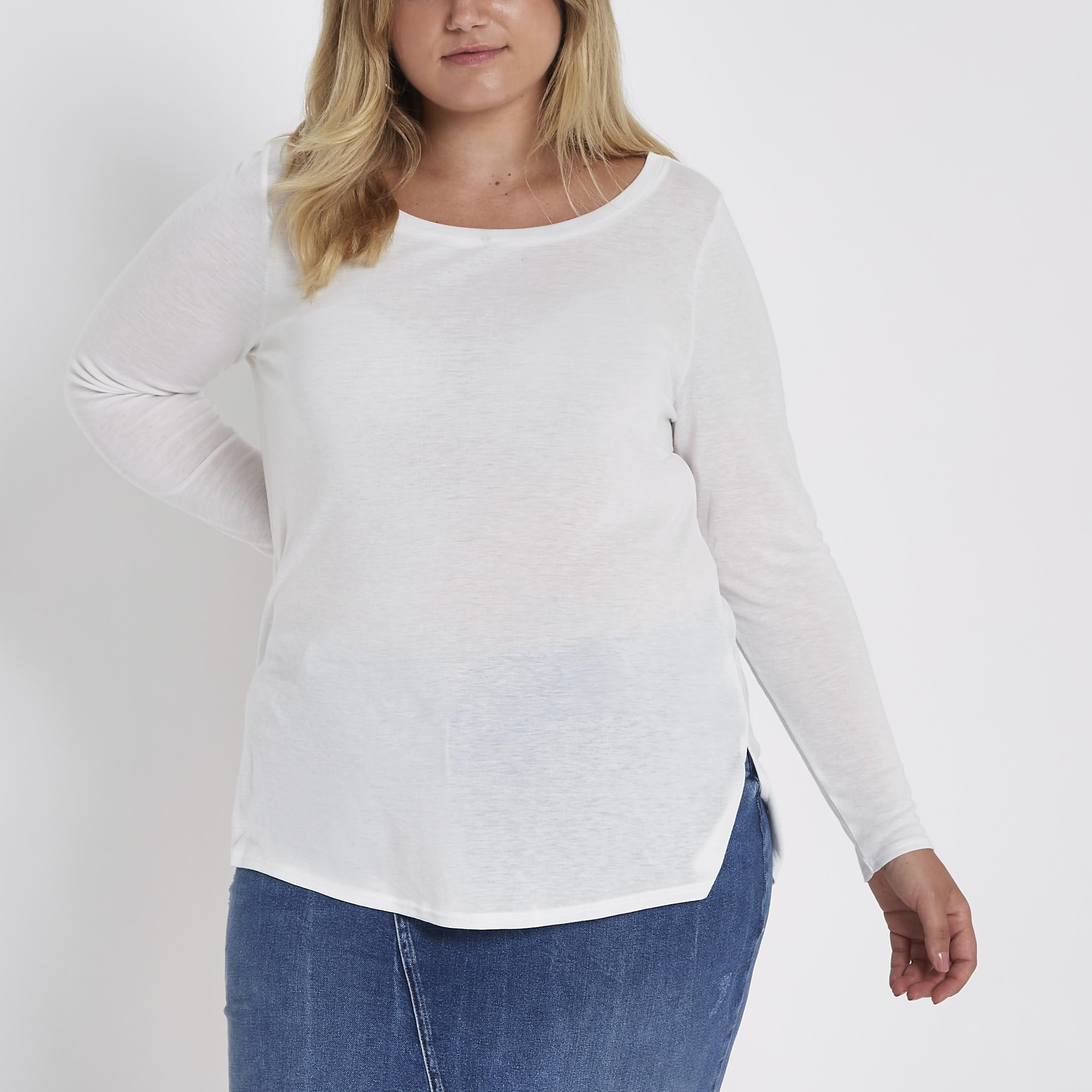 River Island Womens Plus Size White long sleeve jersey T-shirt (22)