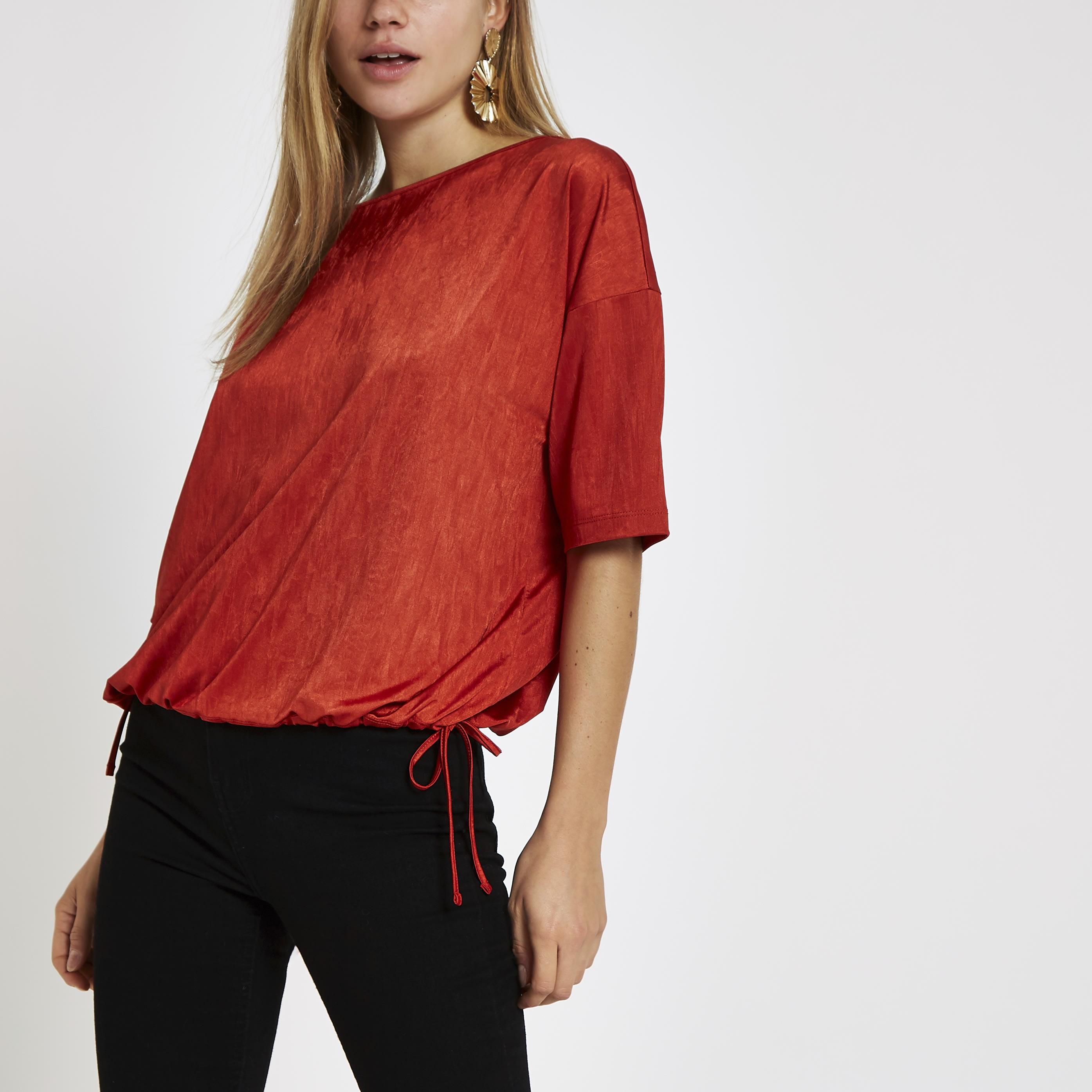 River Island Womens Red elastic hem short sleeve T-shirt (8)