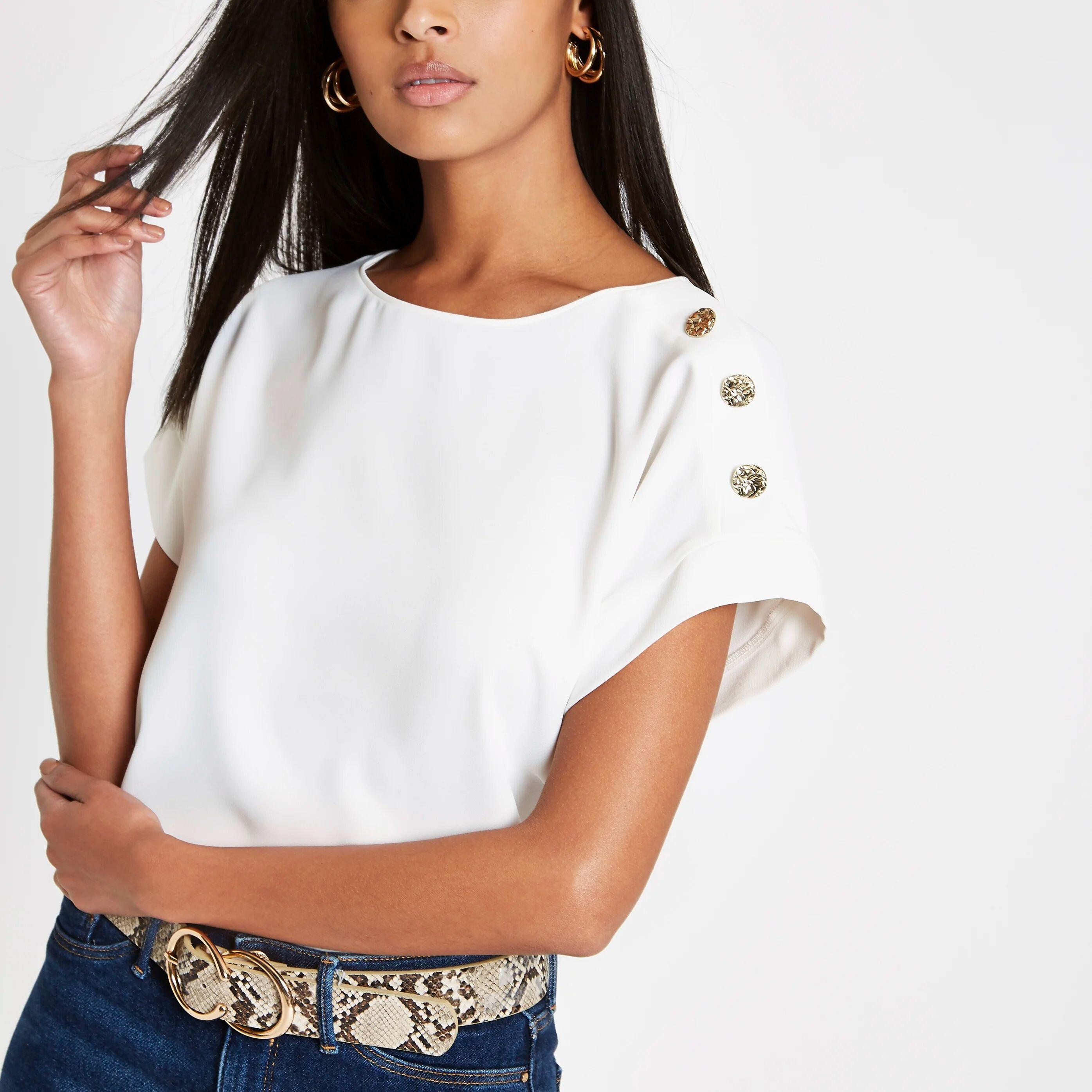 River Island Womens White button detail T-shirt (14)