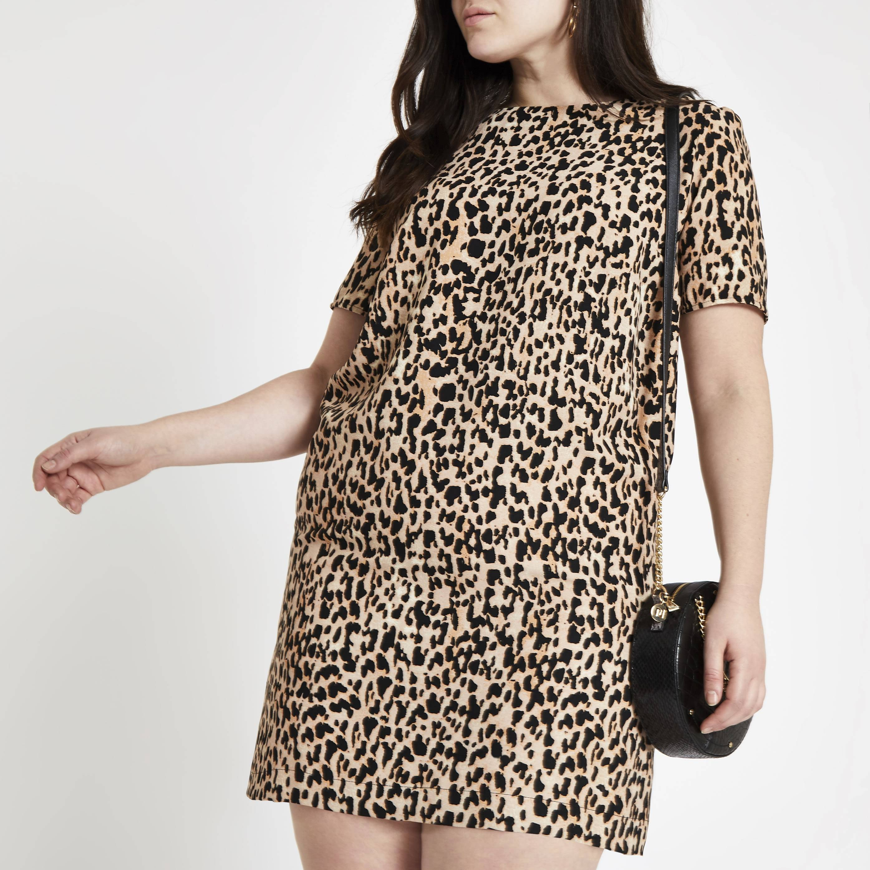 River Island Plus Size Brown leopard print T-shirt dress (20)