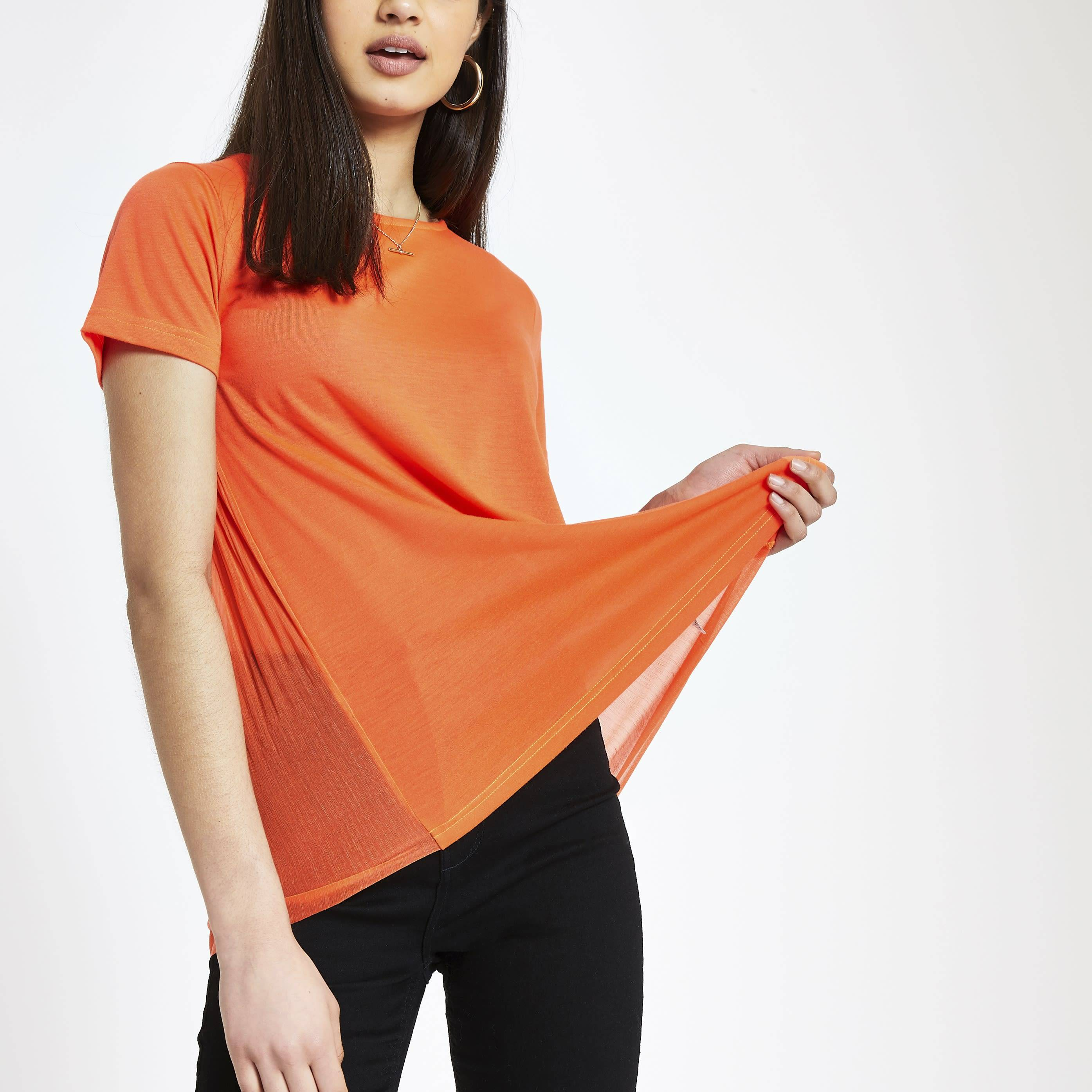 River Island Womens Orange pleated T-shirt (8)