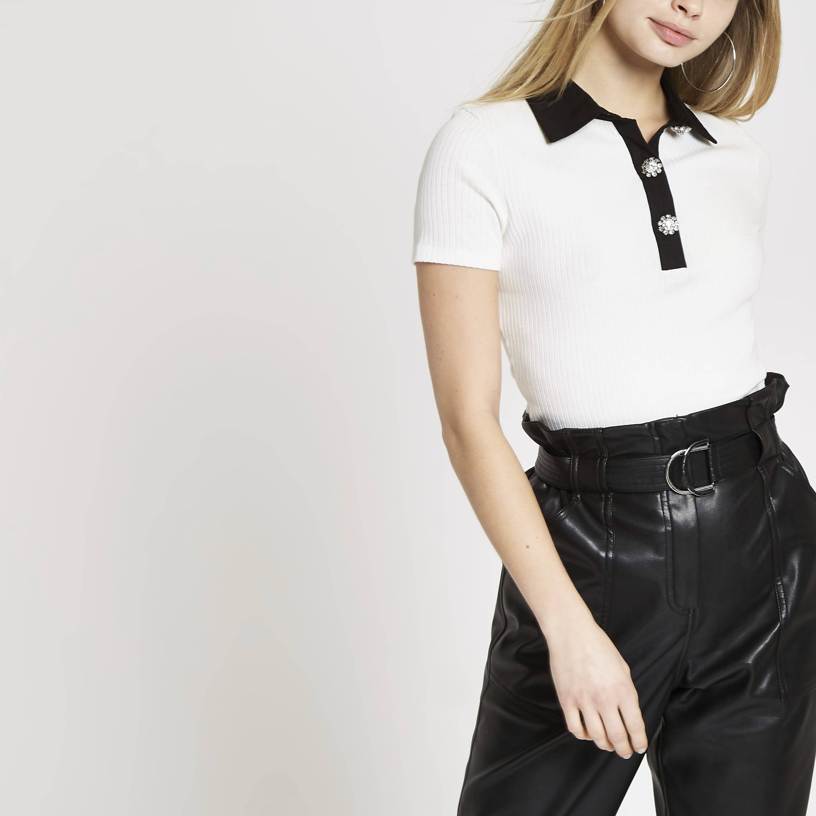 River Island Womens White ribbed embellished collar T-shirt (14)