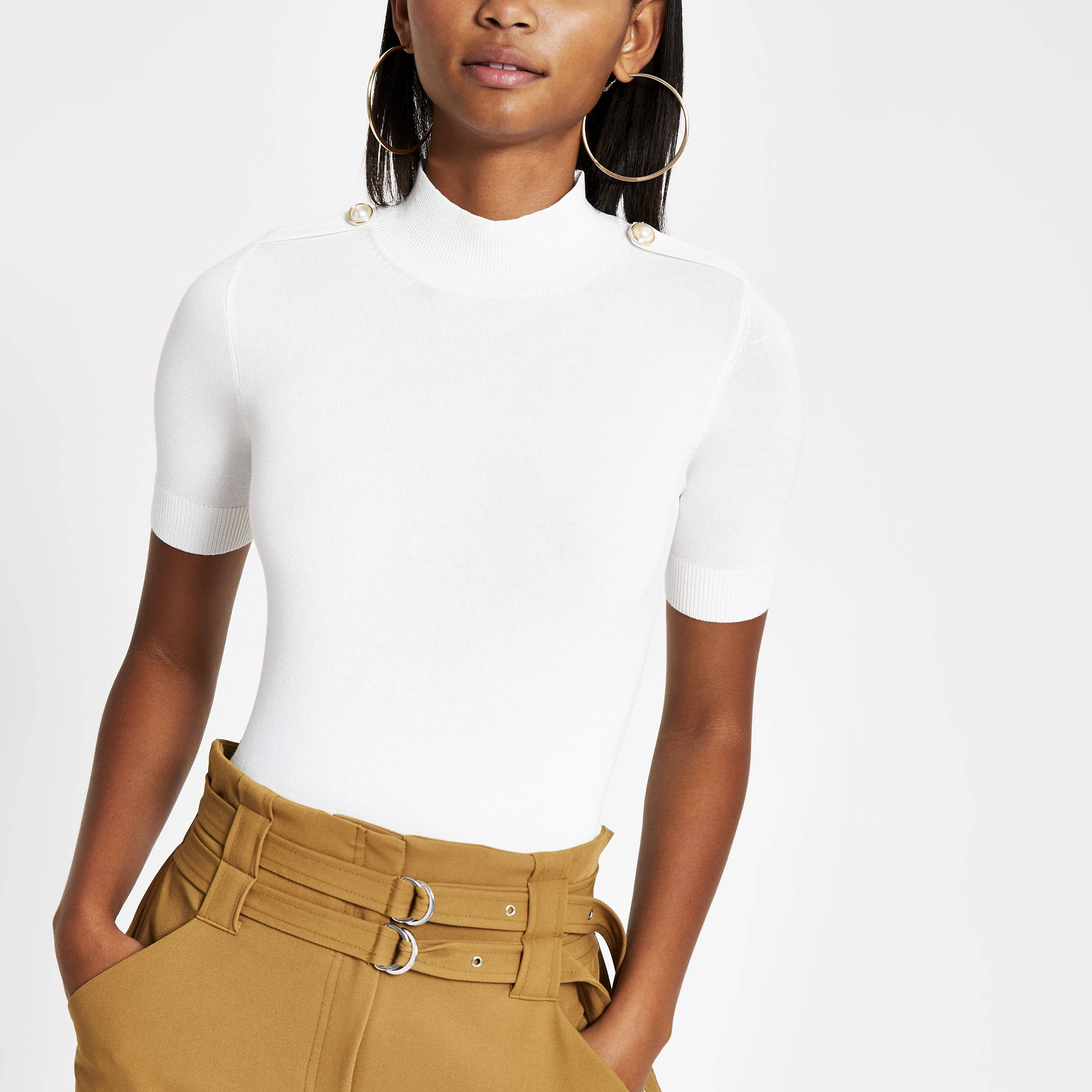 River Island Womens Cream knitted pearl T-shirt (18)