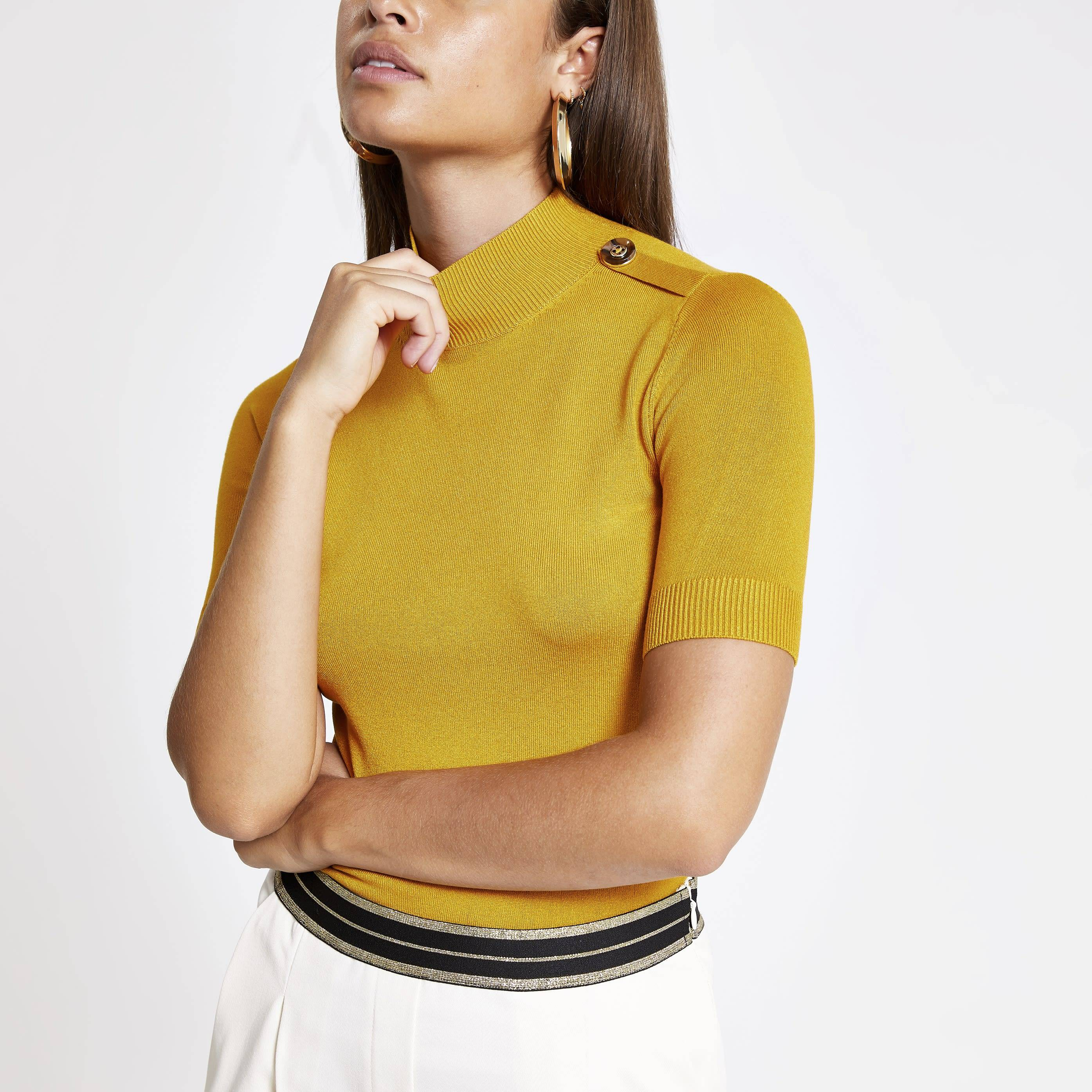 River Island Womens Yellow knitted high neck T-shirt (6)