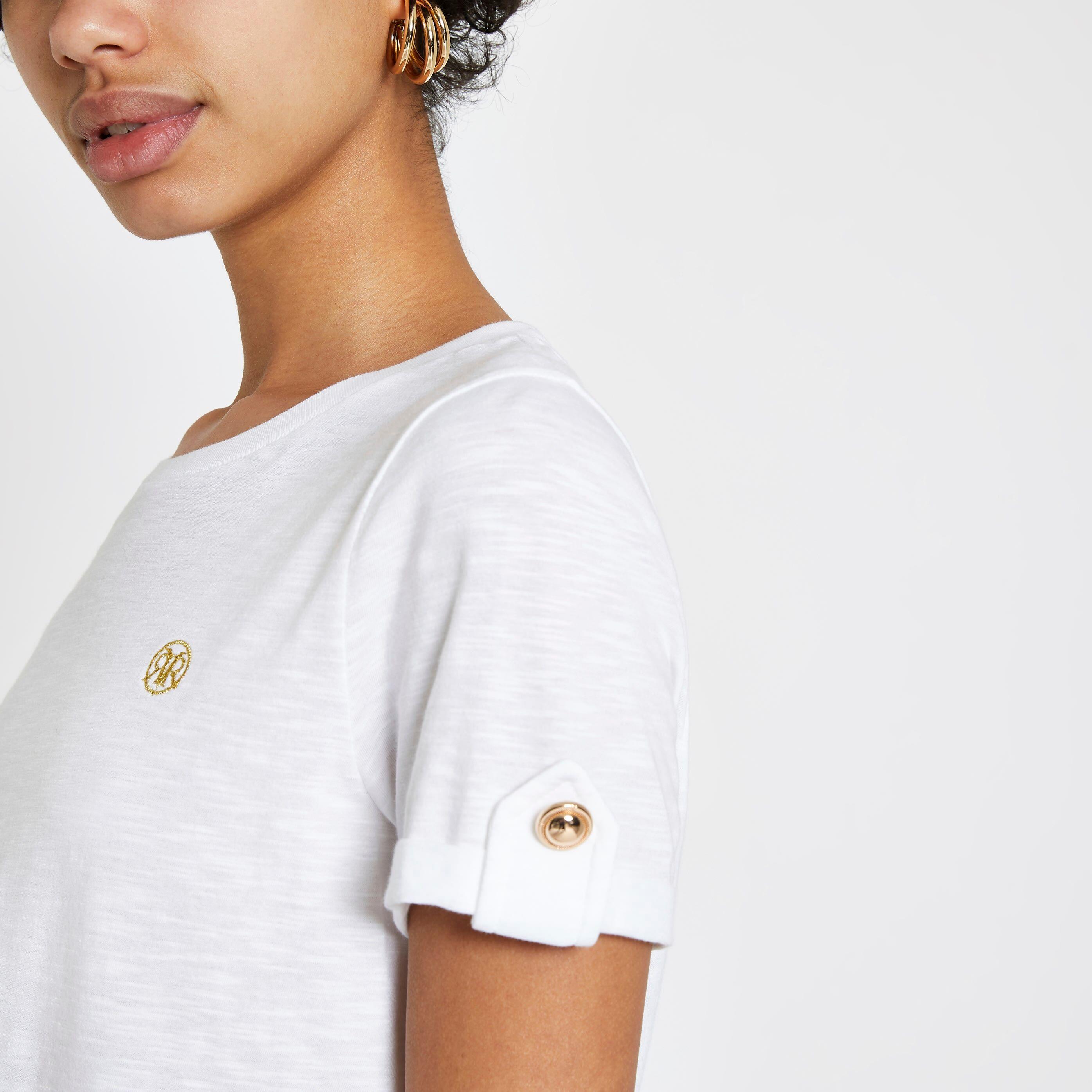 River Island Womens White RI turn up sleeve T-shirt (10)