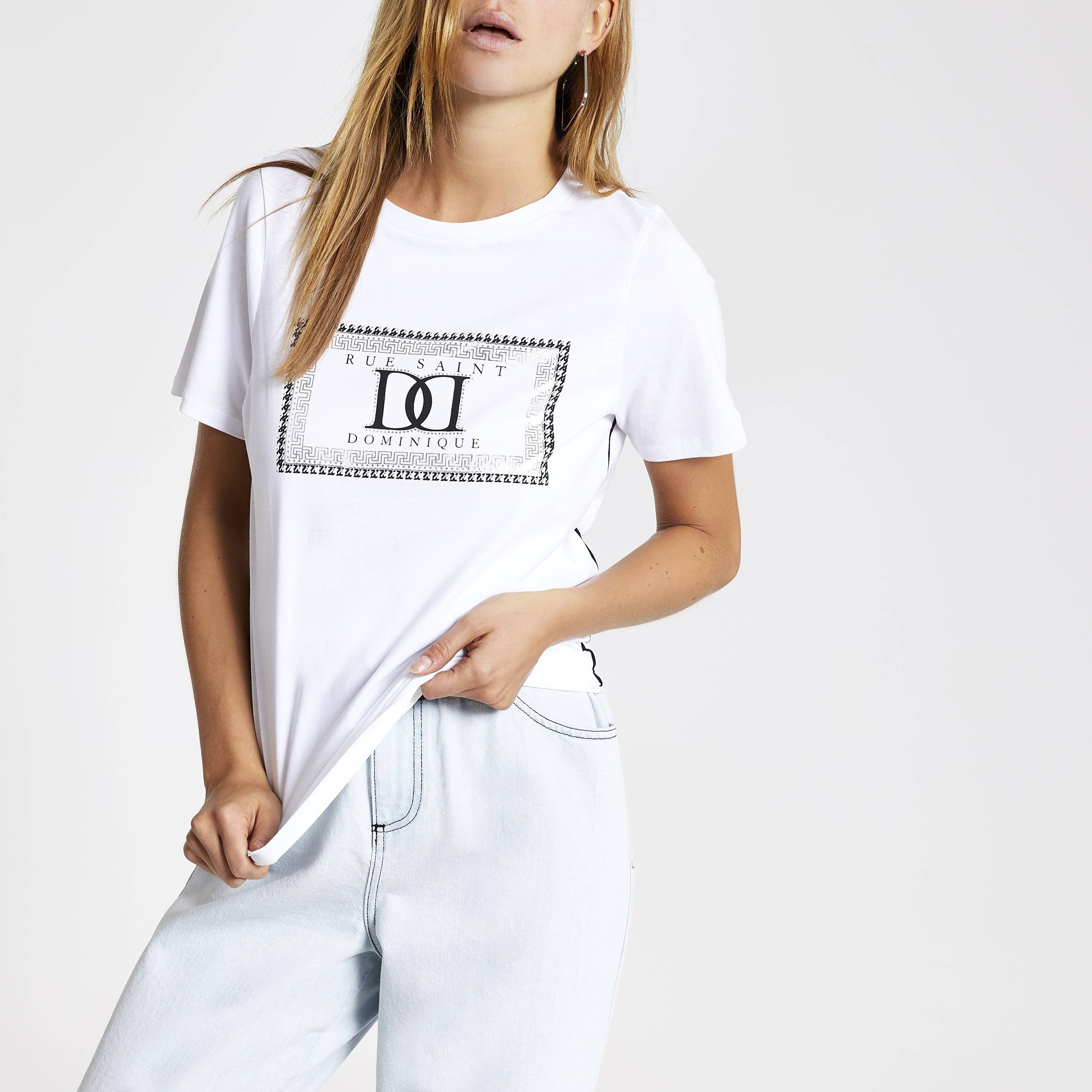 River Island Womens White dogtooth check piped T-shirt (18)