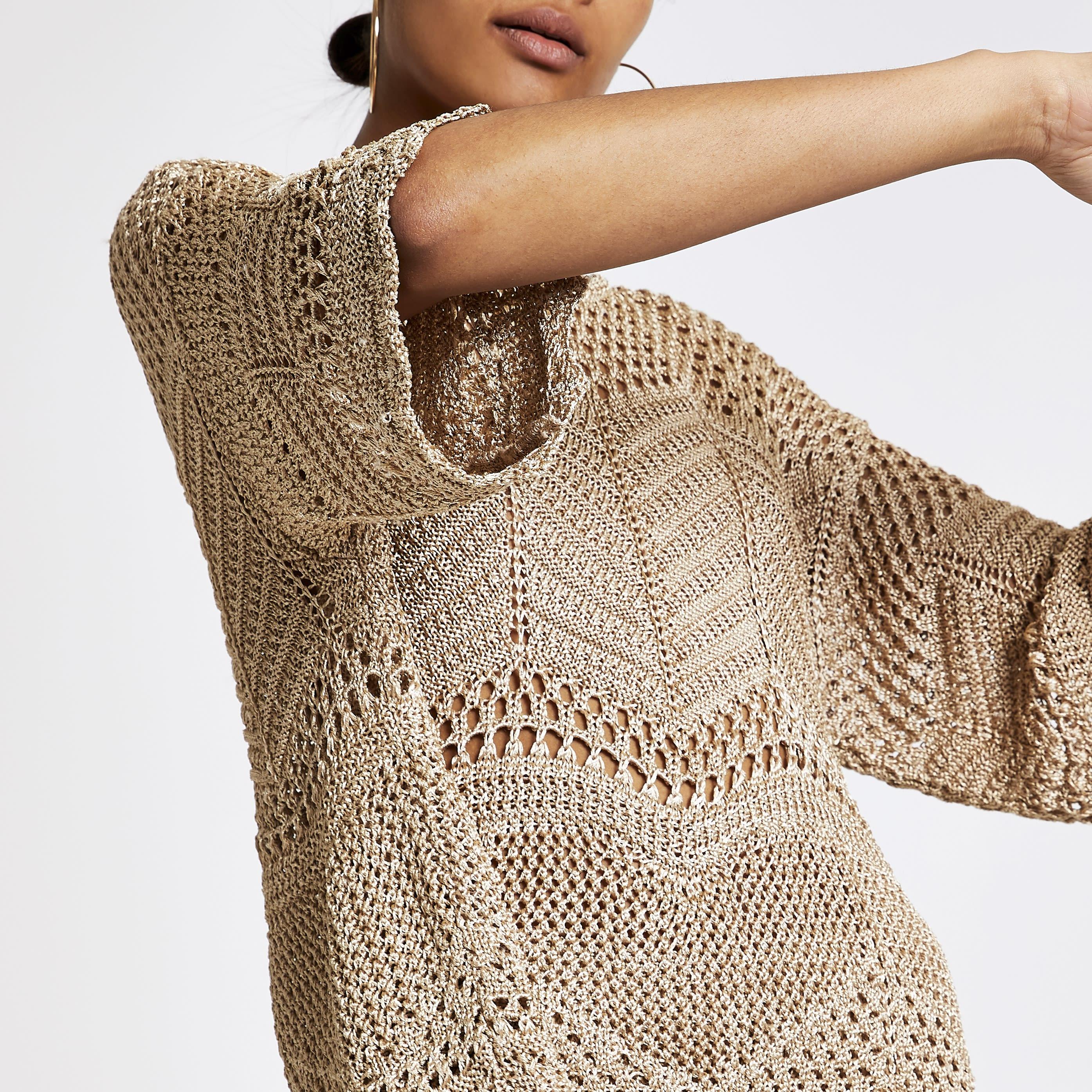 River Island Womens Gold crochet T-shirt (S)