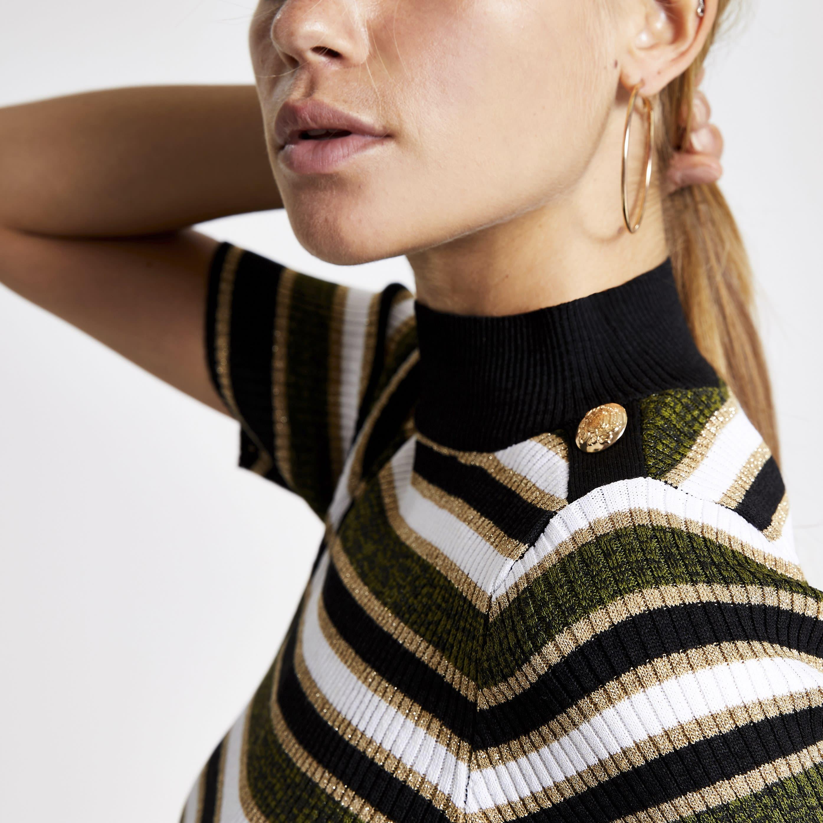 River Island Womens Khaki stripe turtle neck T-shirt (10)