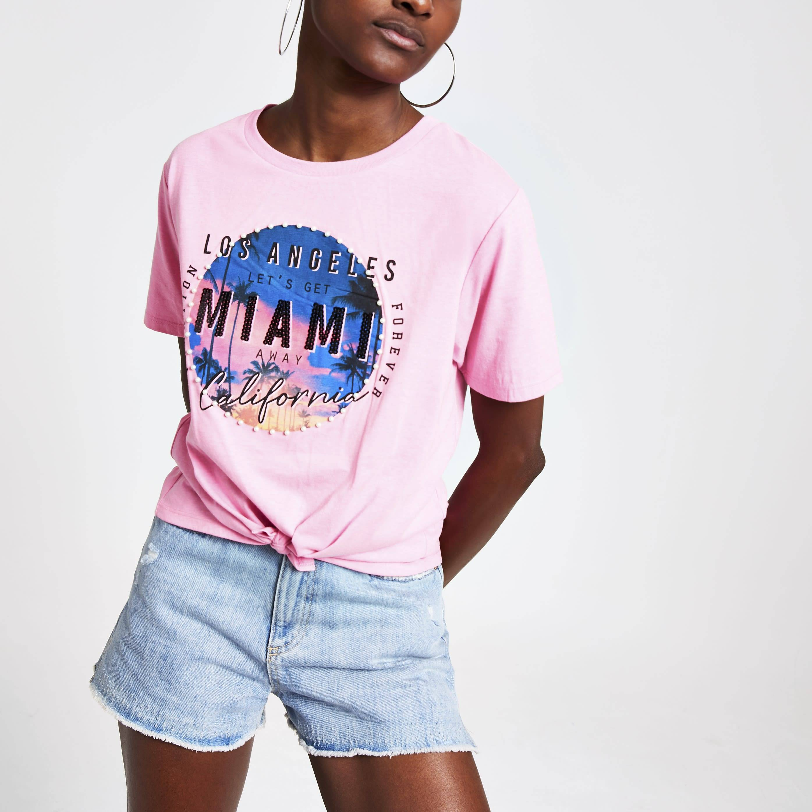 River Island Womens Pink sequin print knot front T-shirt (18)
