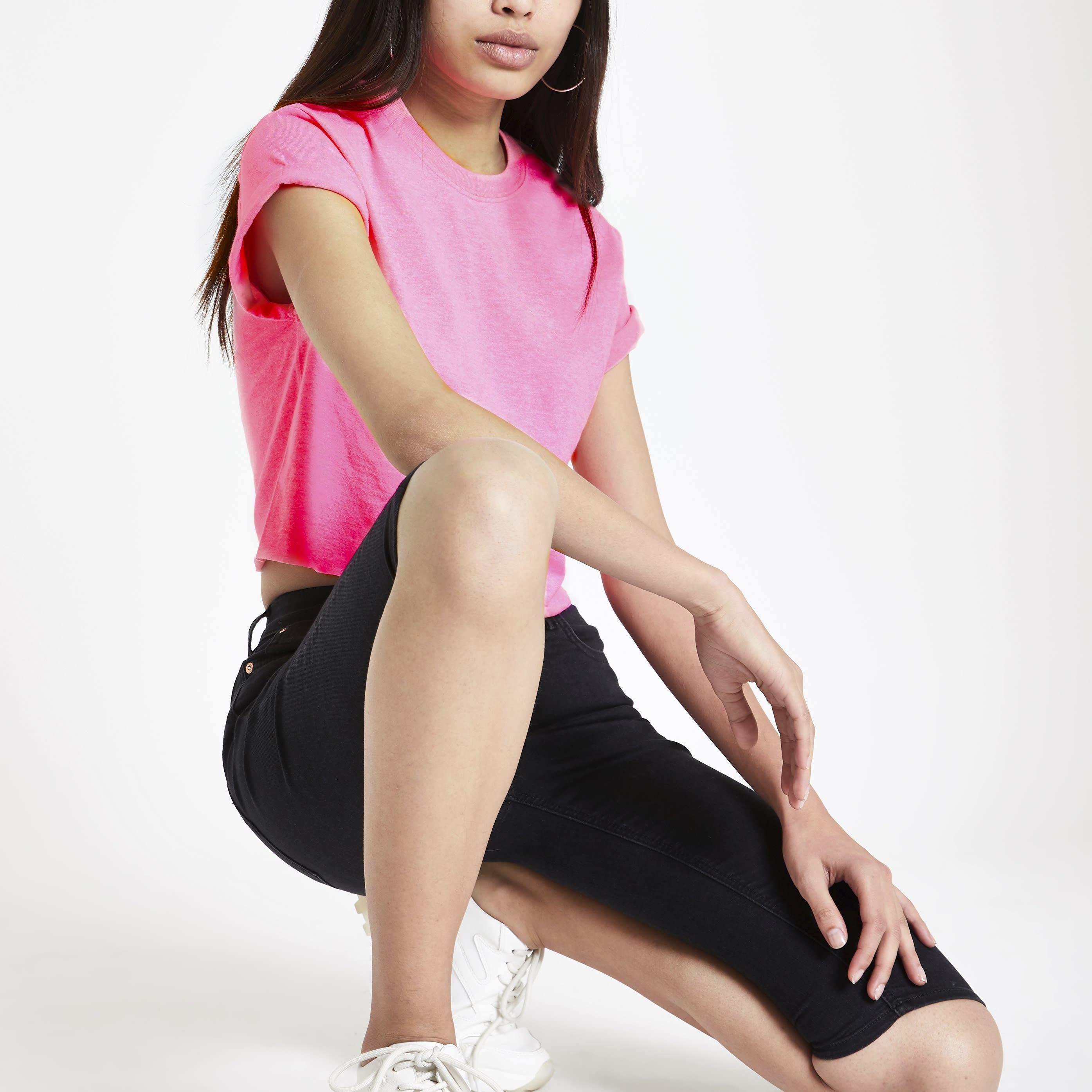 River Island Womens Pink short sleeve crop T-shirt (14)