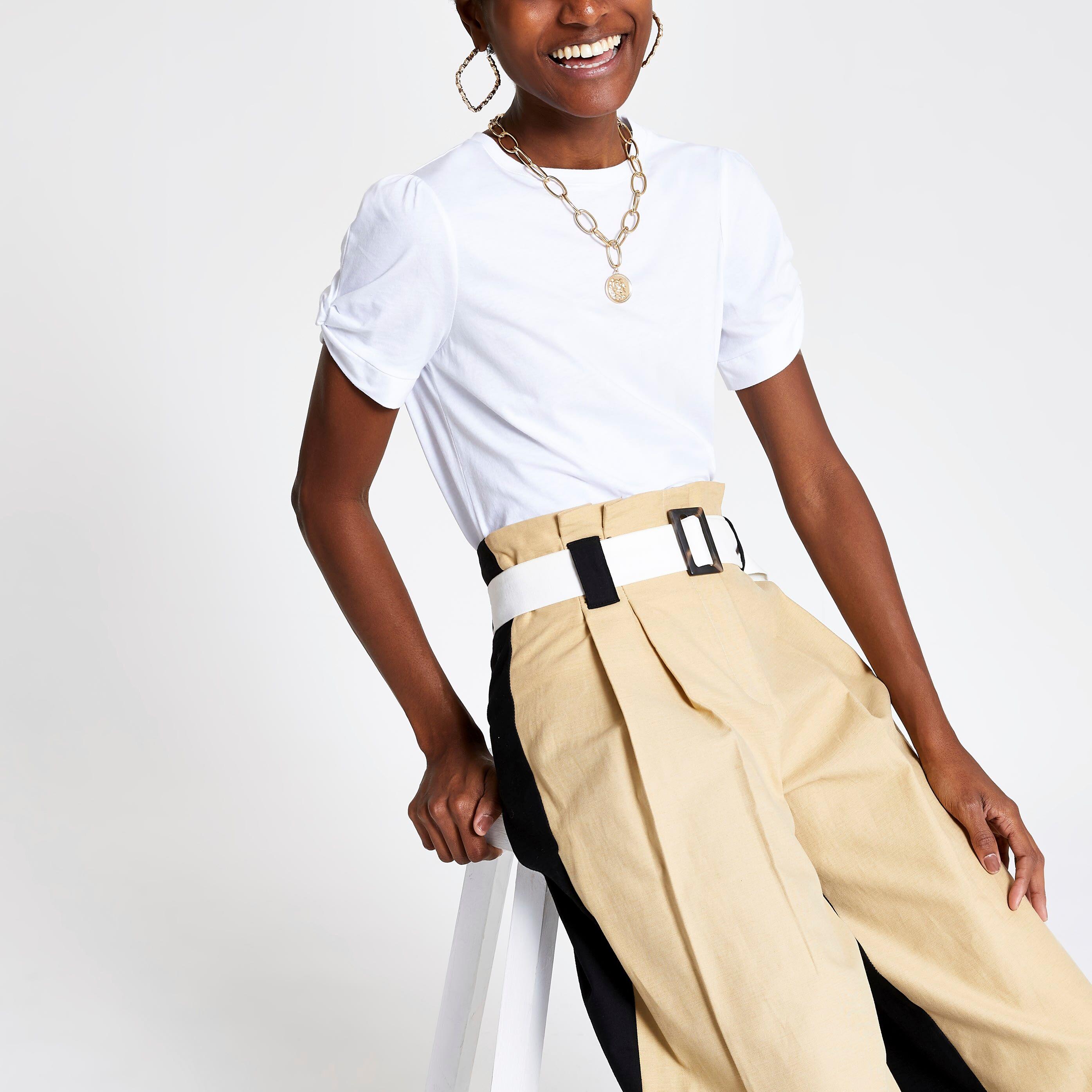 River Island Womens White knot sleeve T-shirt (12)