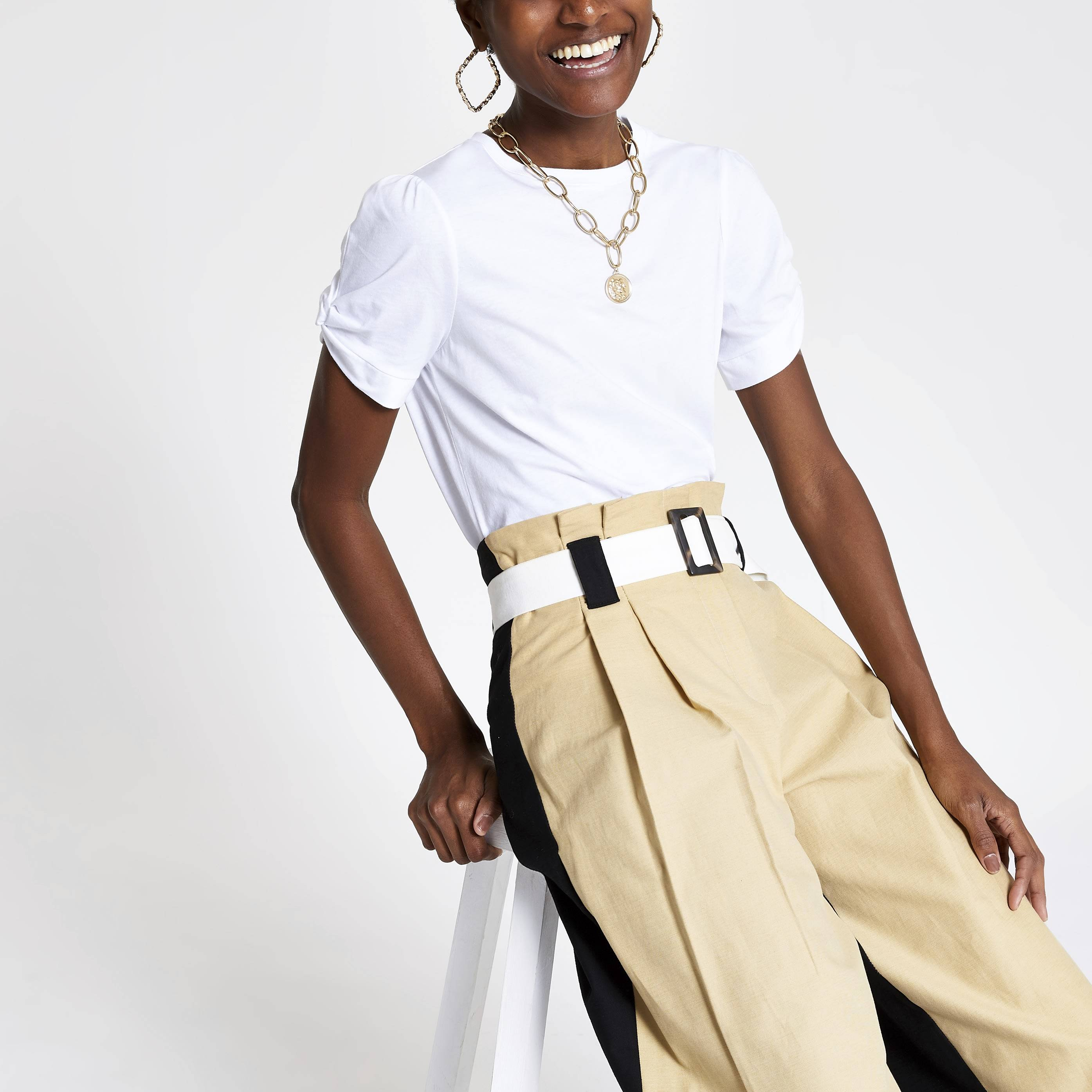 River Island Womens White knot sleeve T-shirt (8)