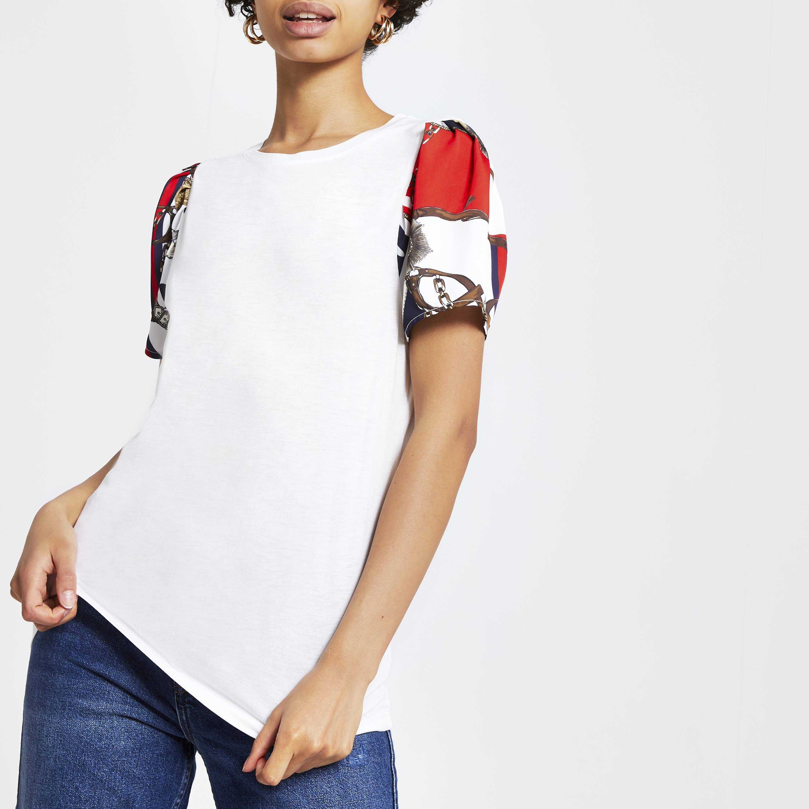 River Island Womens White chain print short sleeve T-shirt (12)
