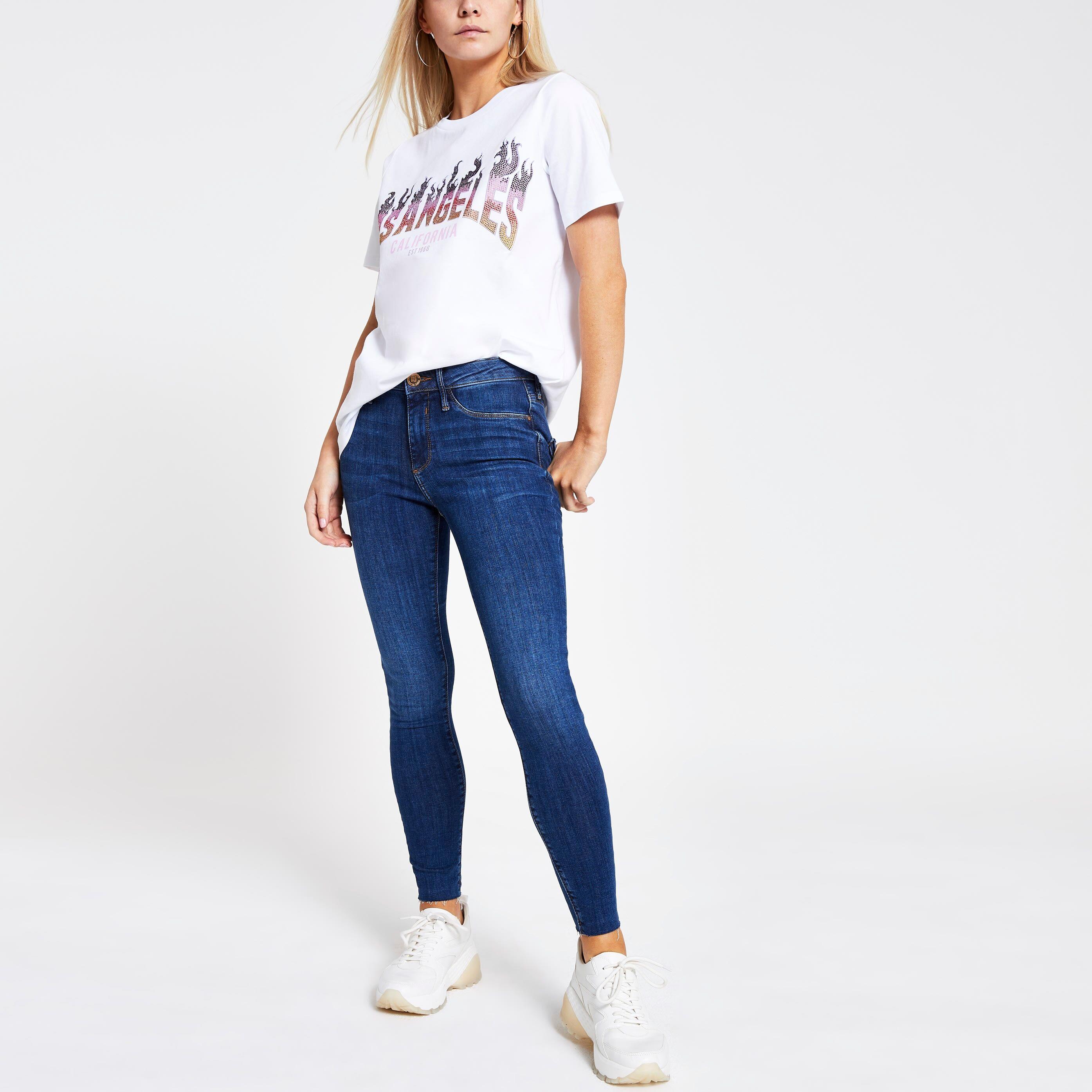 River Island Womens White 'Los Angeles' sequin print T-shirt (6)