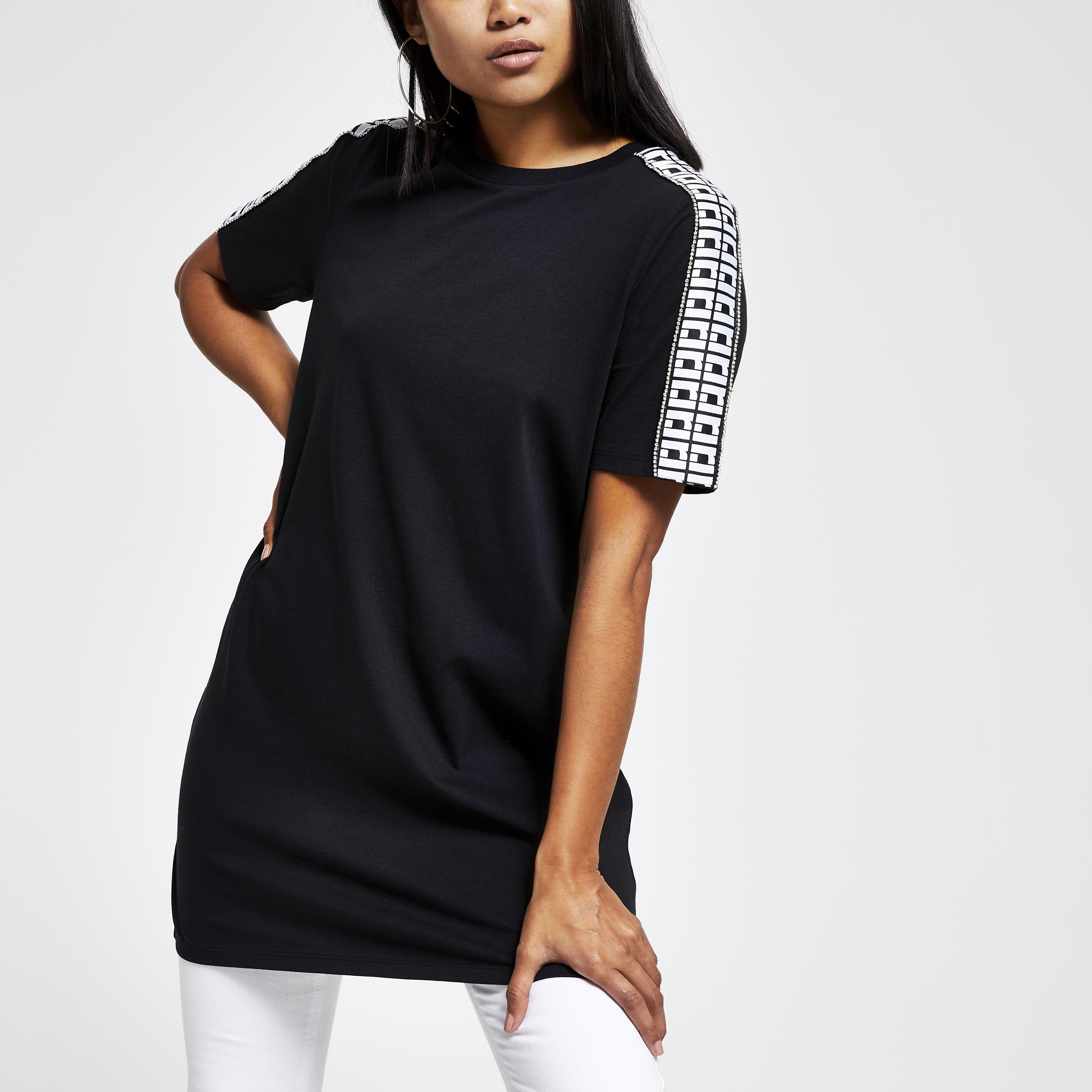 River Island Womens Petite Black diamante trim jumbo T-shirt (8)
