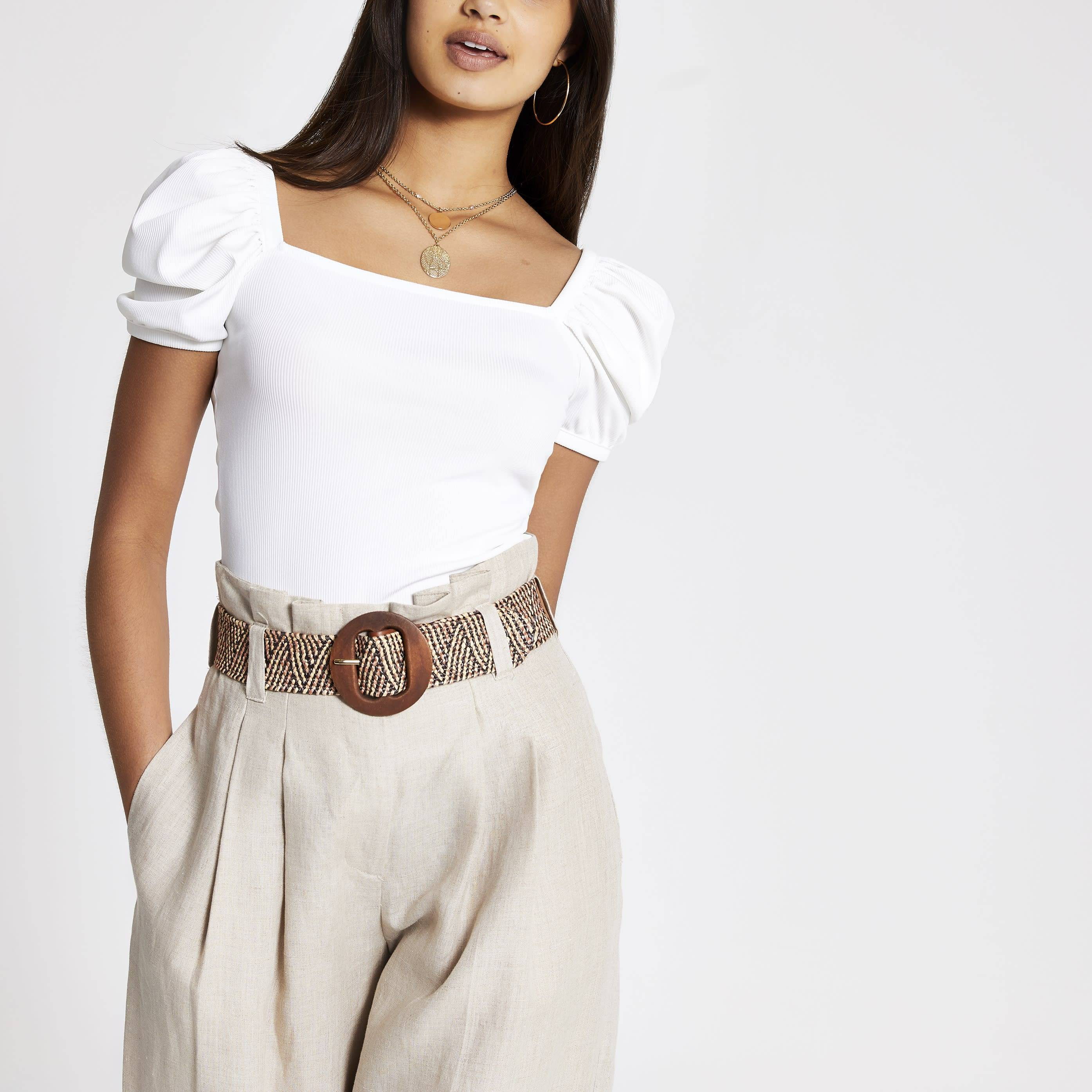 River Island Womens White ribbed puff sleeve T-shirt (12)