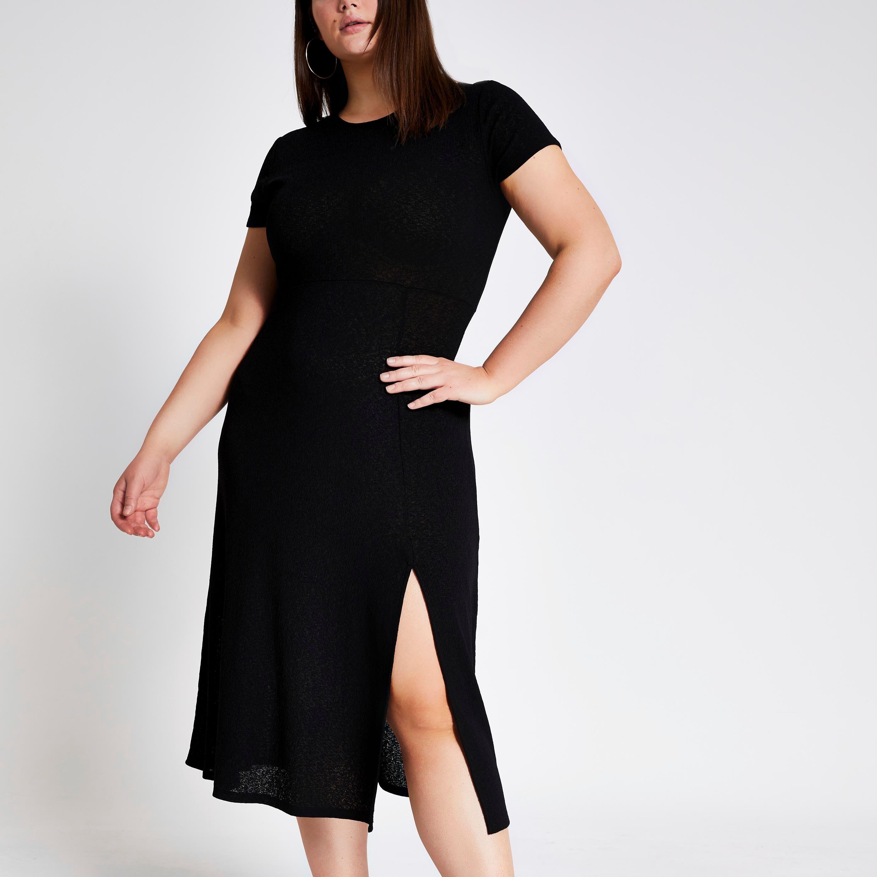 River Island Womens Plus Size Black maxi T-shirt dress (24)