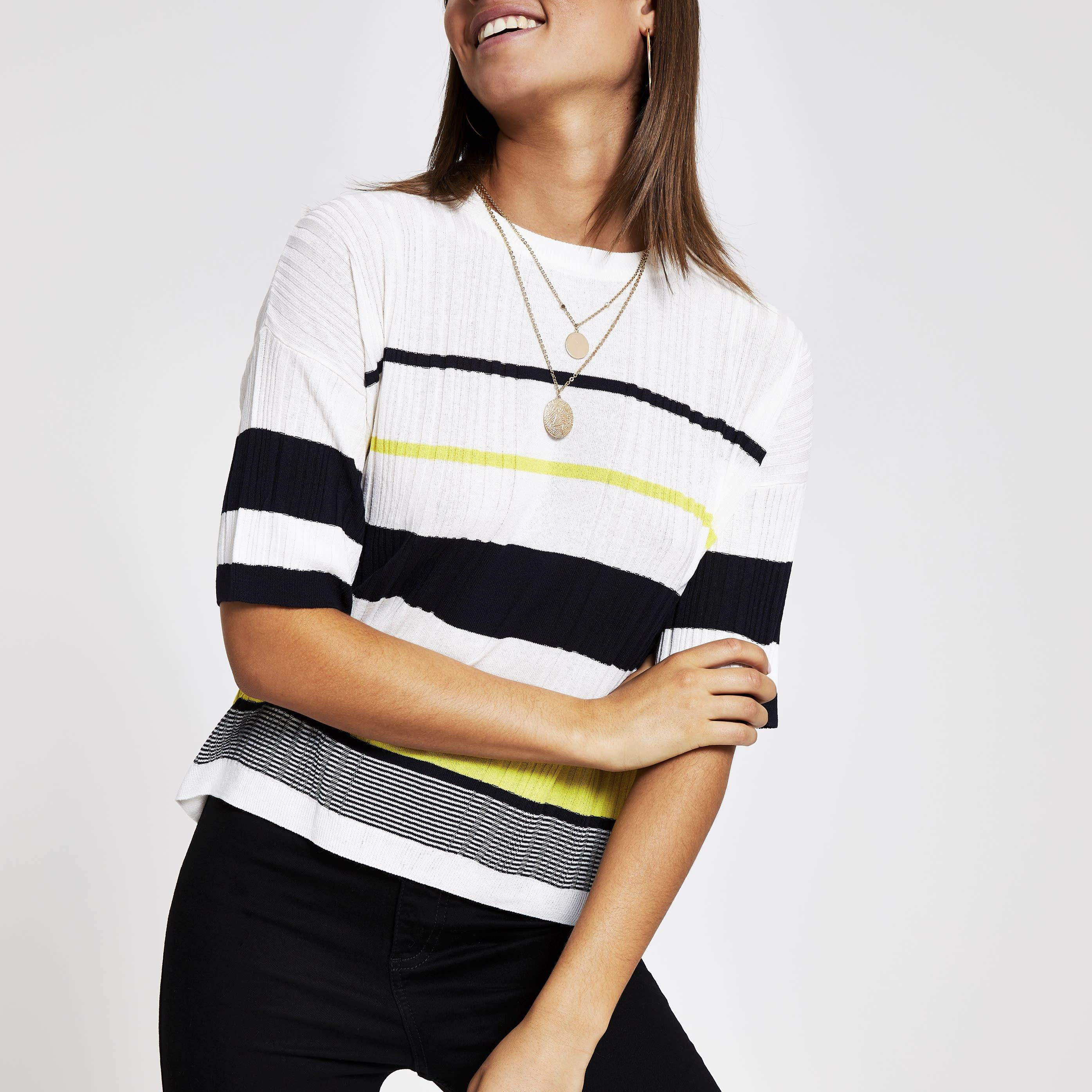 River Island Womens White stripe knitted T-shirt (16)