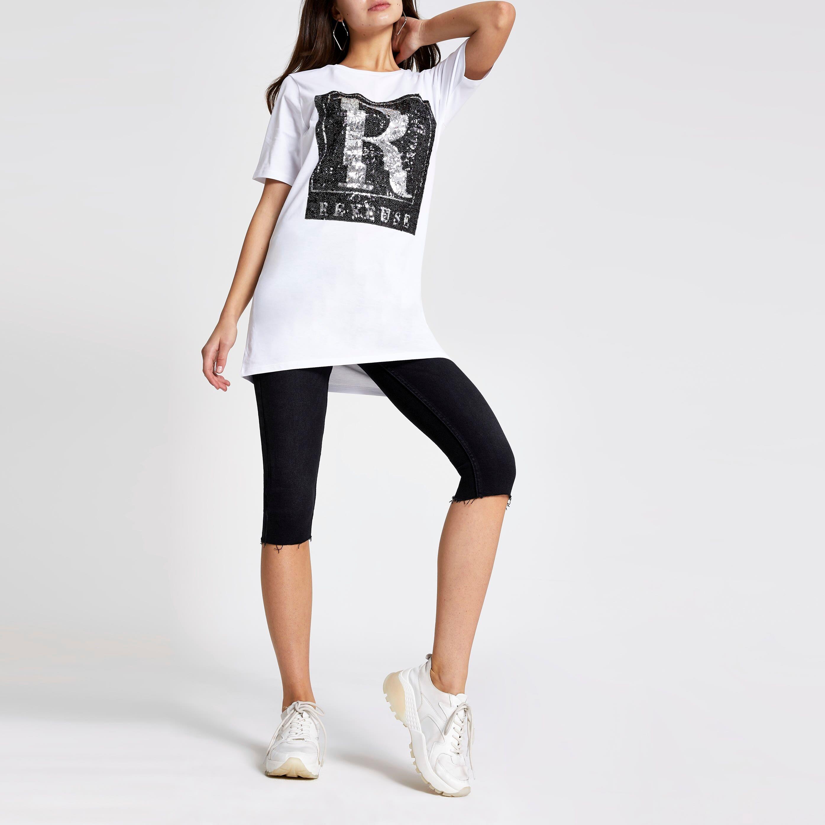 River Island Womens White 'Reveuse' sequin boyfriend T-shirt (12)
