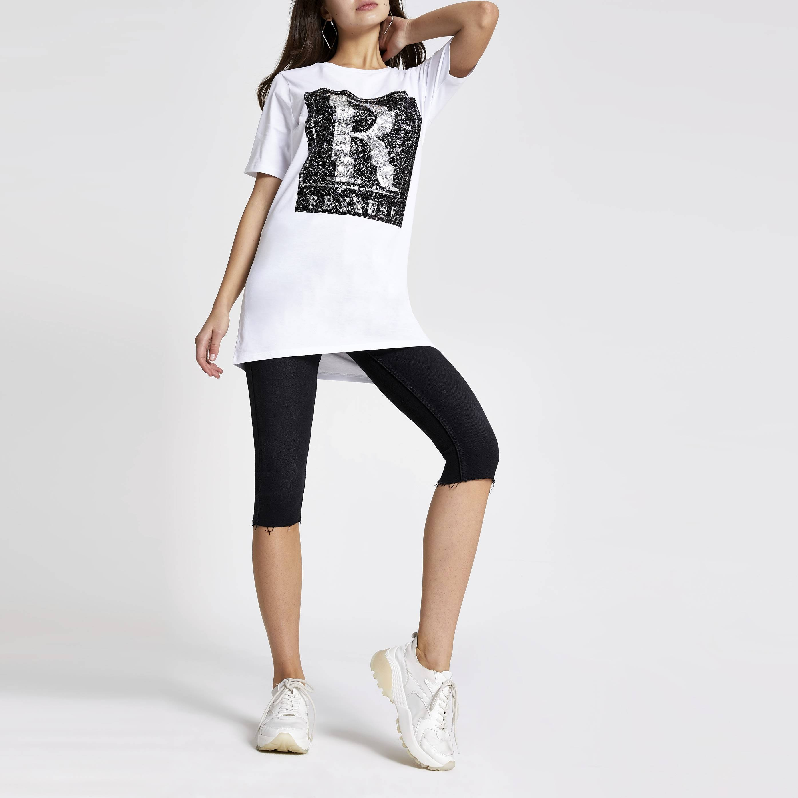 River Island Womens White 'Reveuse' sequin boyfriend T-shirt (18)