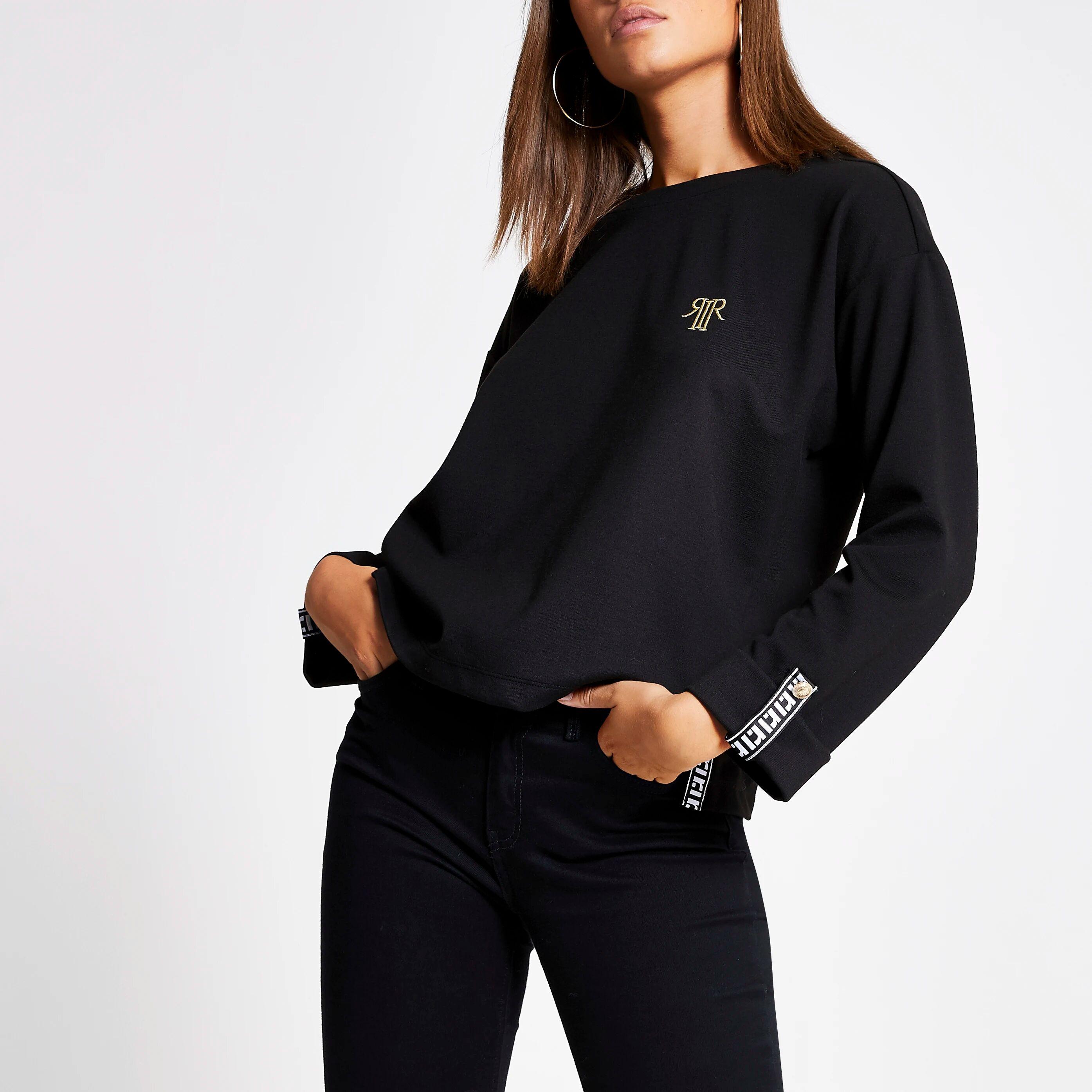 River Island Womens Black RI tape long sleeve T-shirt (18)