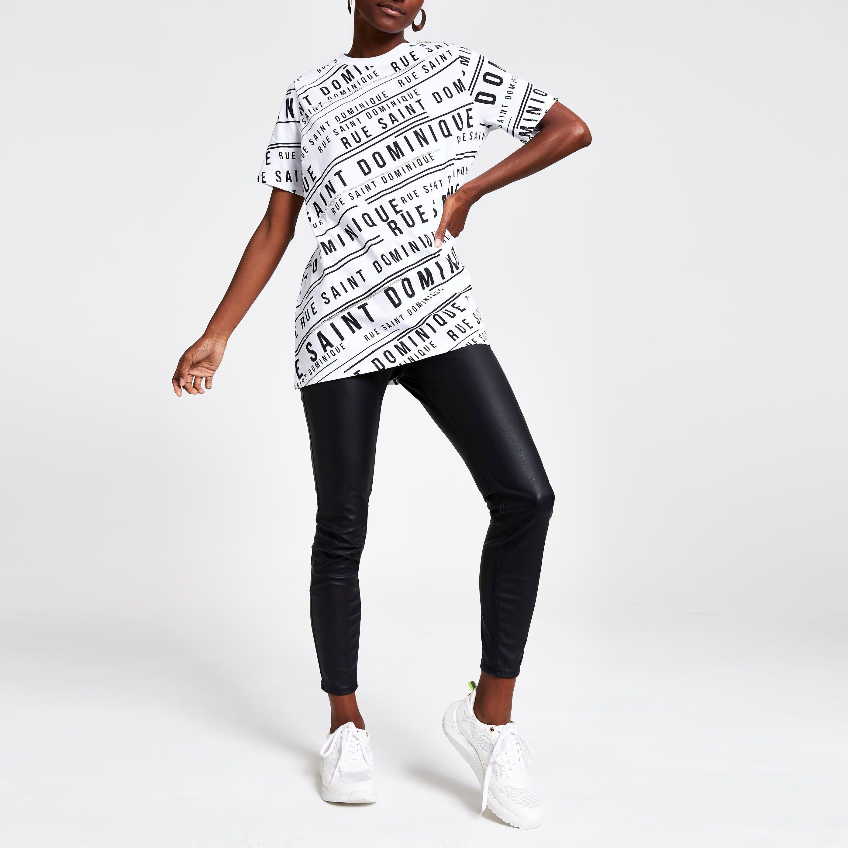 River Island Womens White printed embellished trim T-shirt (8)