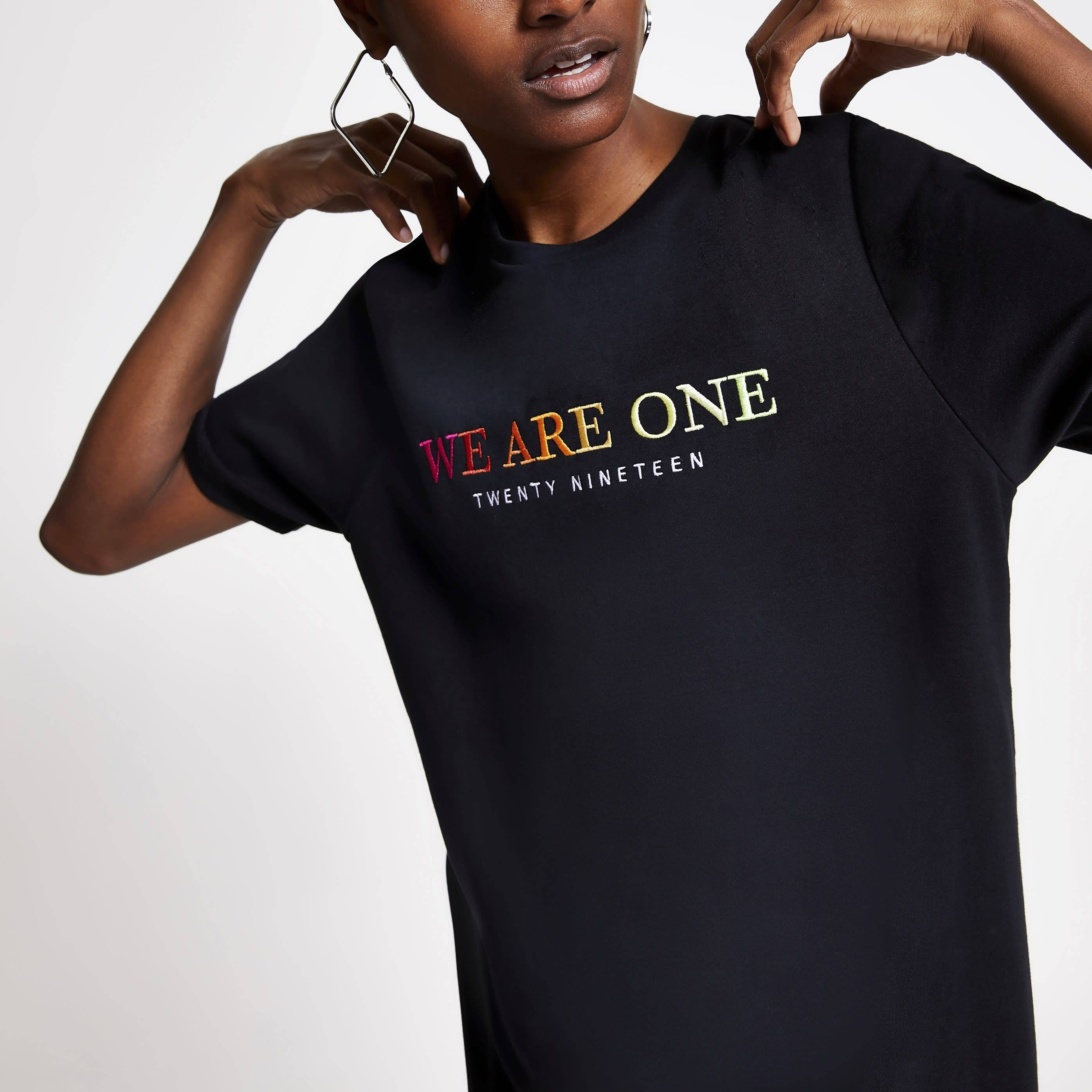 River Island Womens Black 'we are one' Pride T-shirt (S)