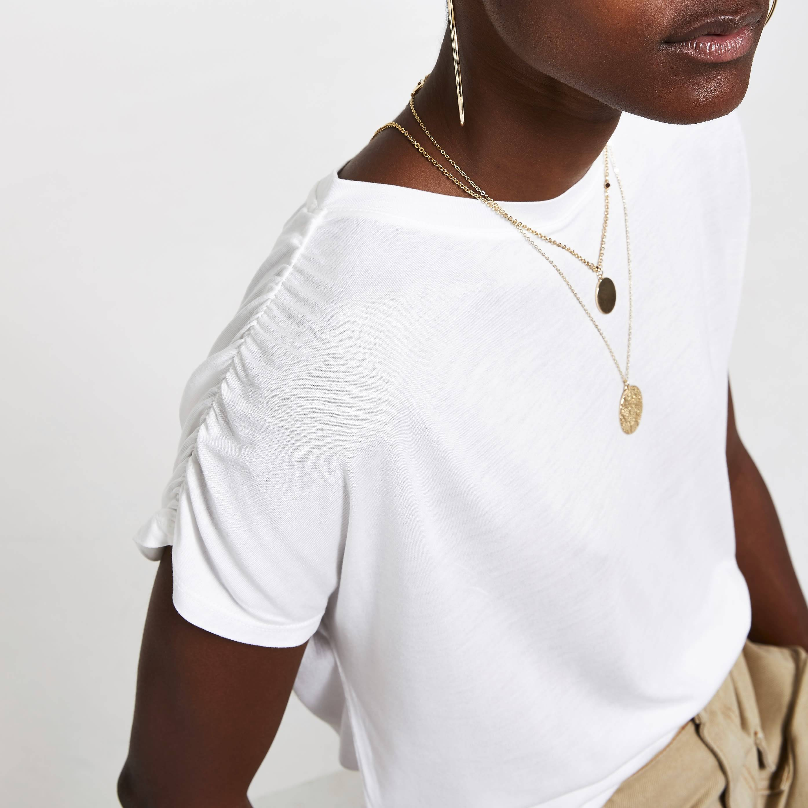 River Island Womens White ruched sleeve T-shirt (12)