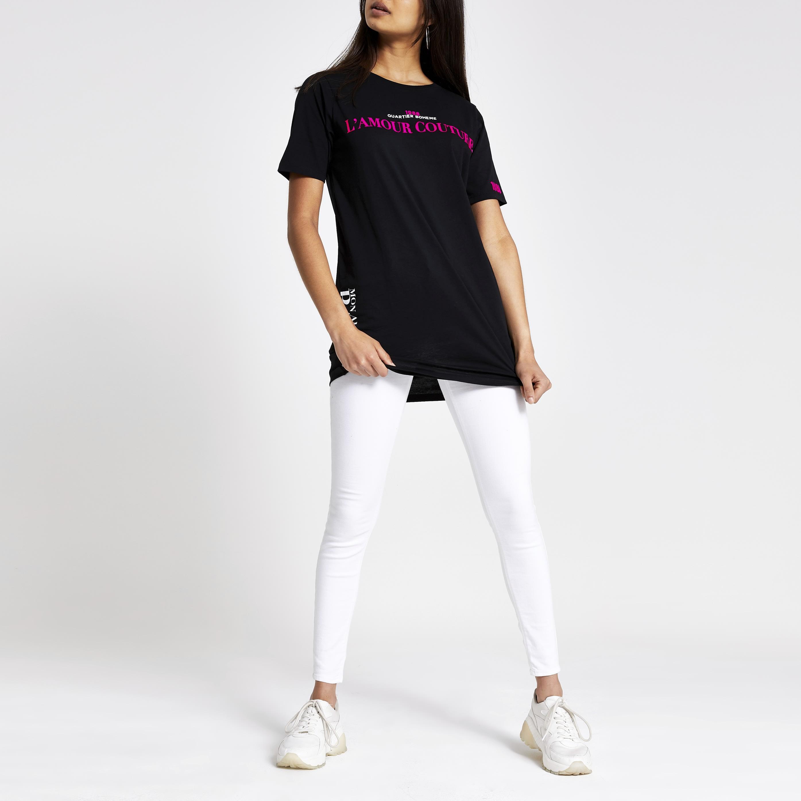 River Island Womens Black neon print jumbo T-shirt (6)
