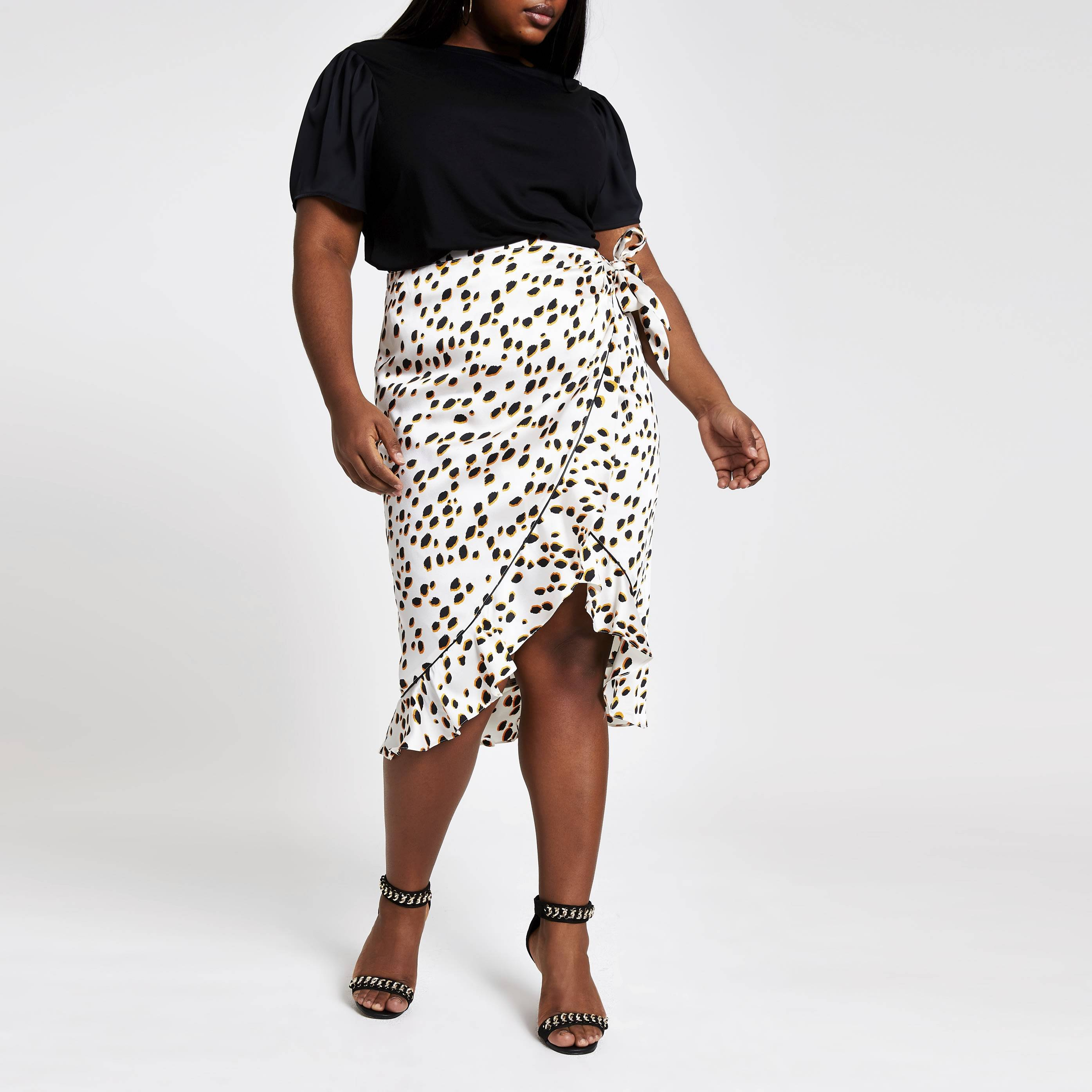 River Island Womens Plus Size Black contrast sleeve T-shirt (22)