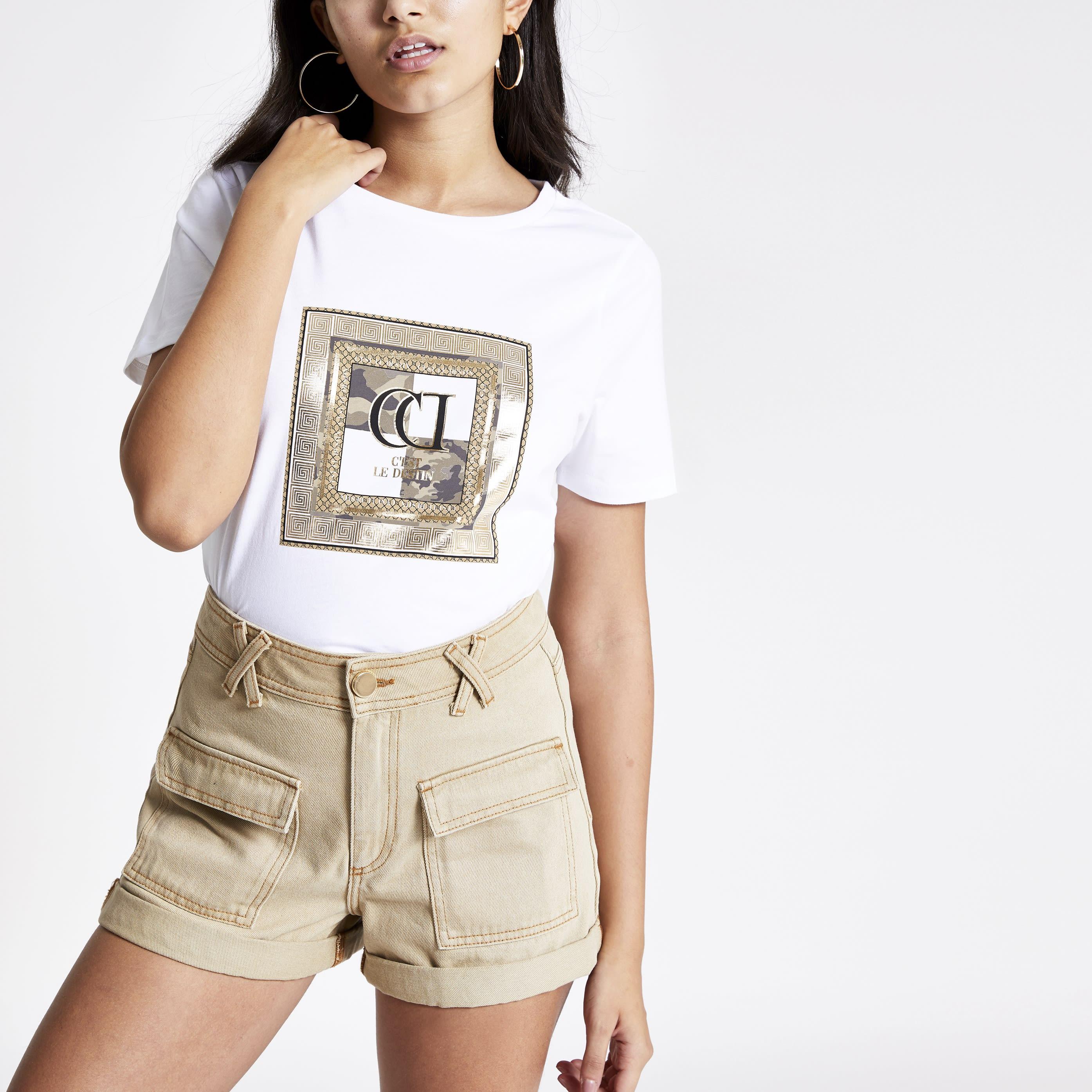 River Island Womens White camo RI print T-shirt (14)