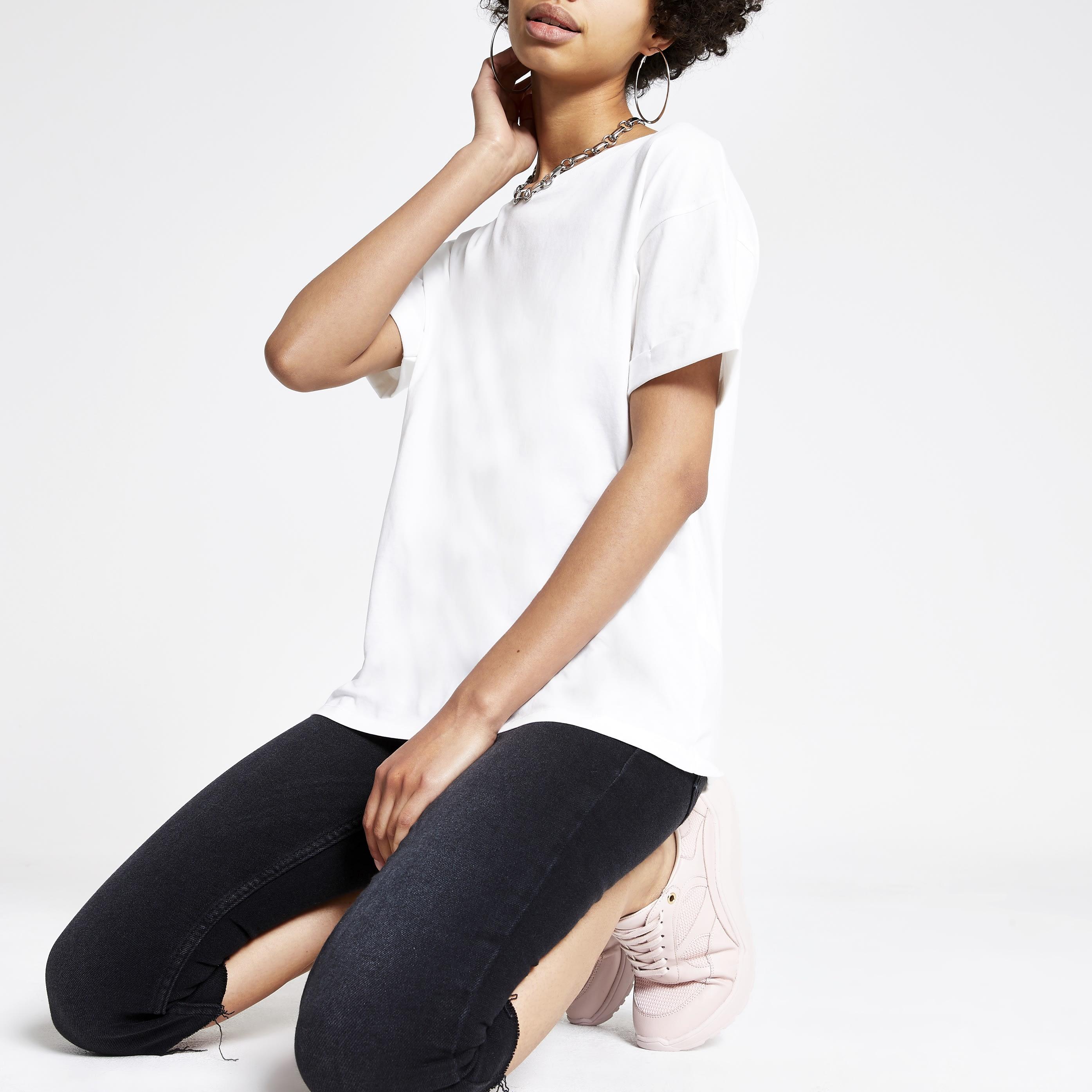 River Island Womens White turn up sleeve T-shirt (12)