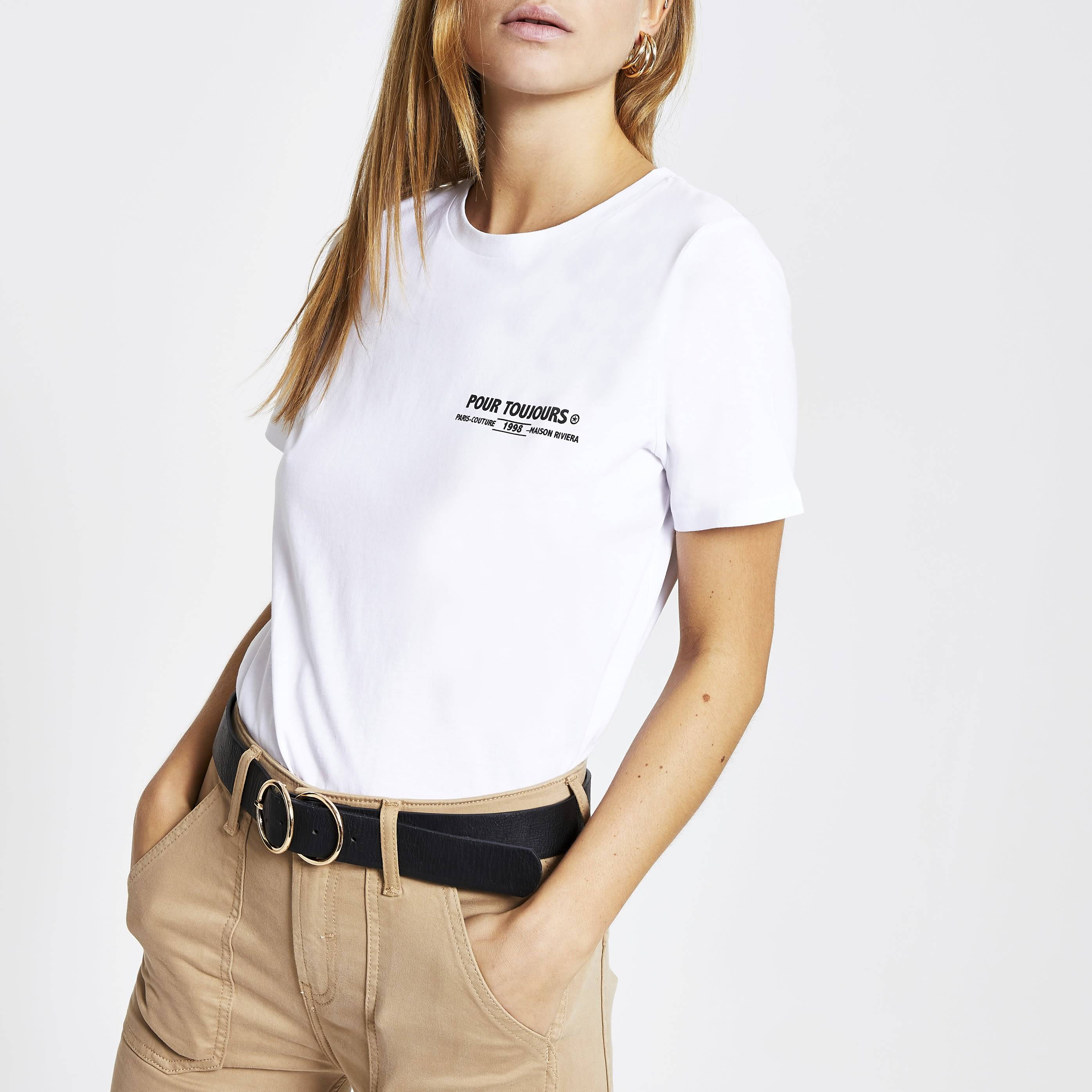River Island Womens White 'Pour Toujours' fitted T-shirt (16)