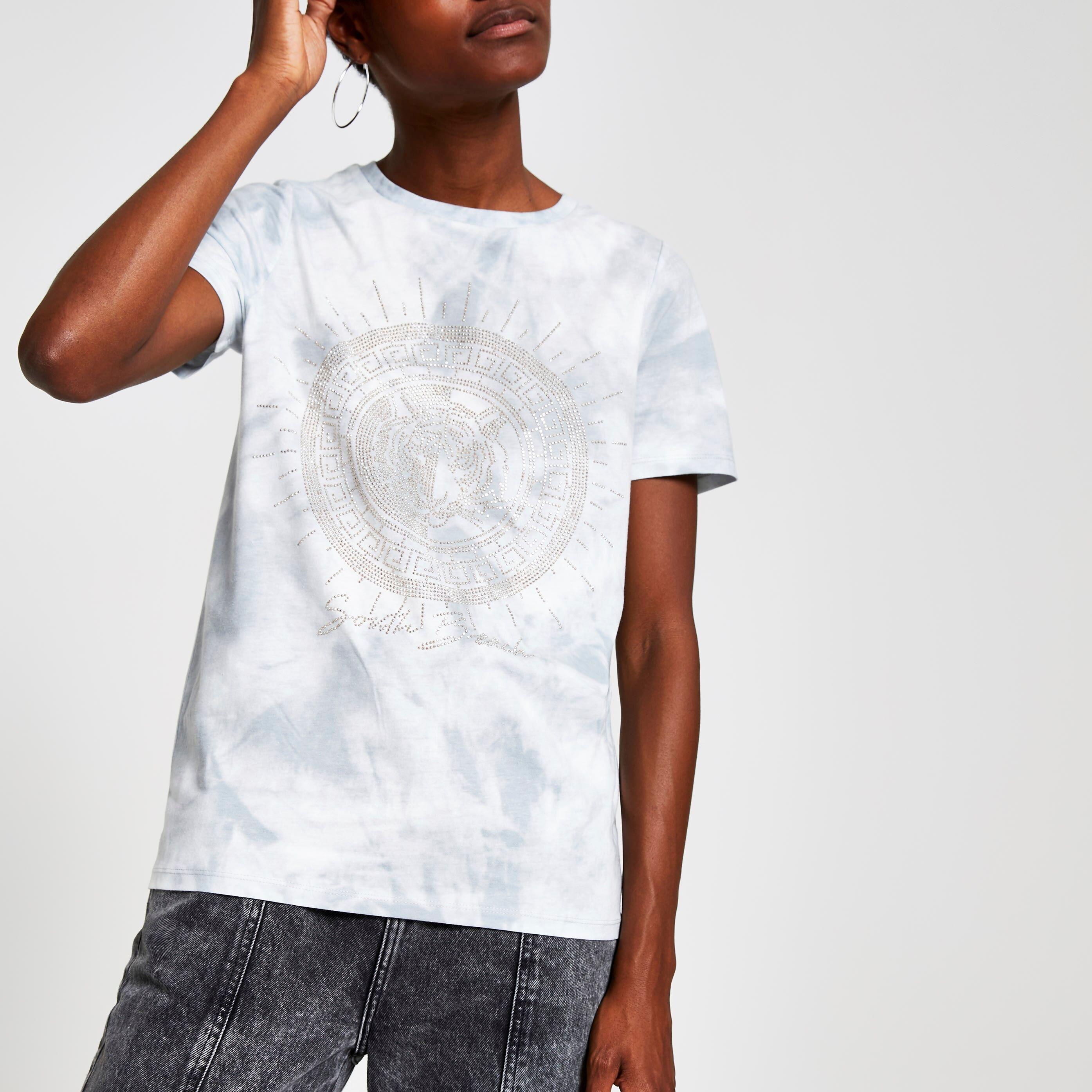 River Island Womens Grey tie dye embellished T-shirt (16)
