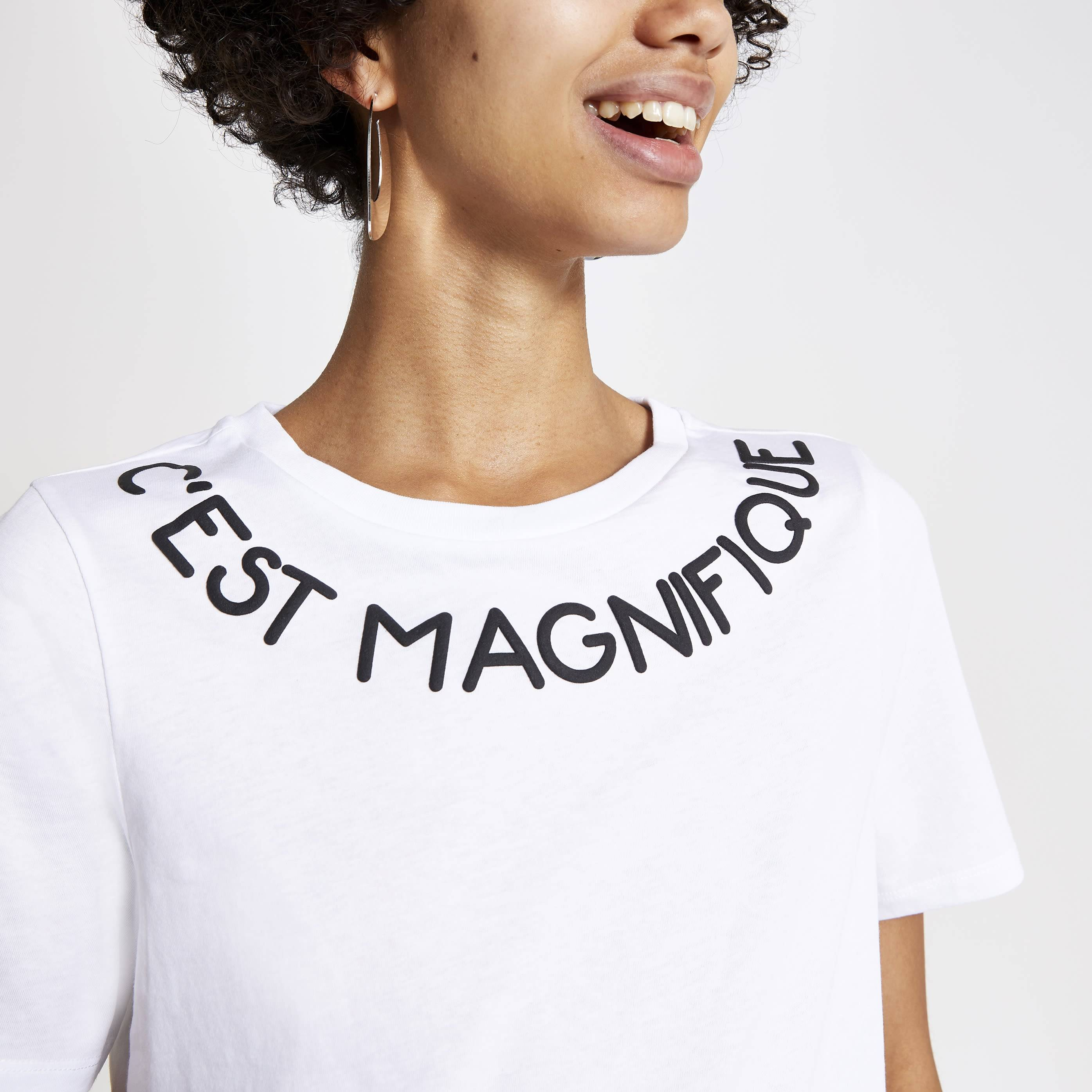 River Island Womens White neck printed T-shirt (8)