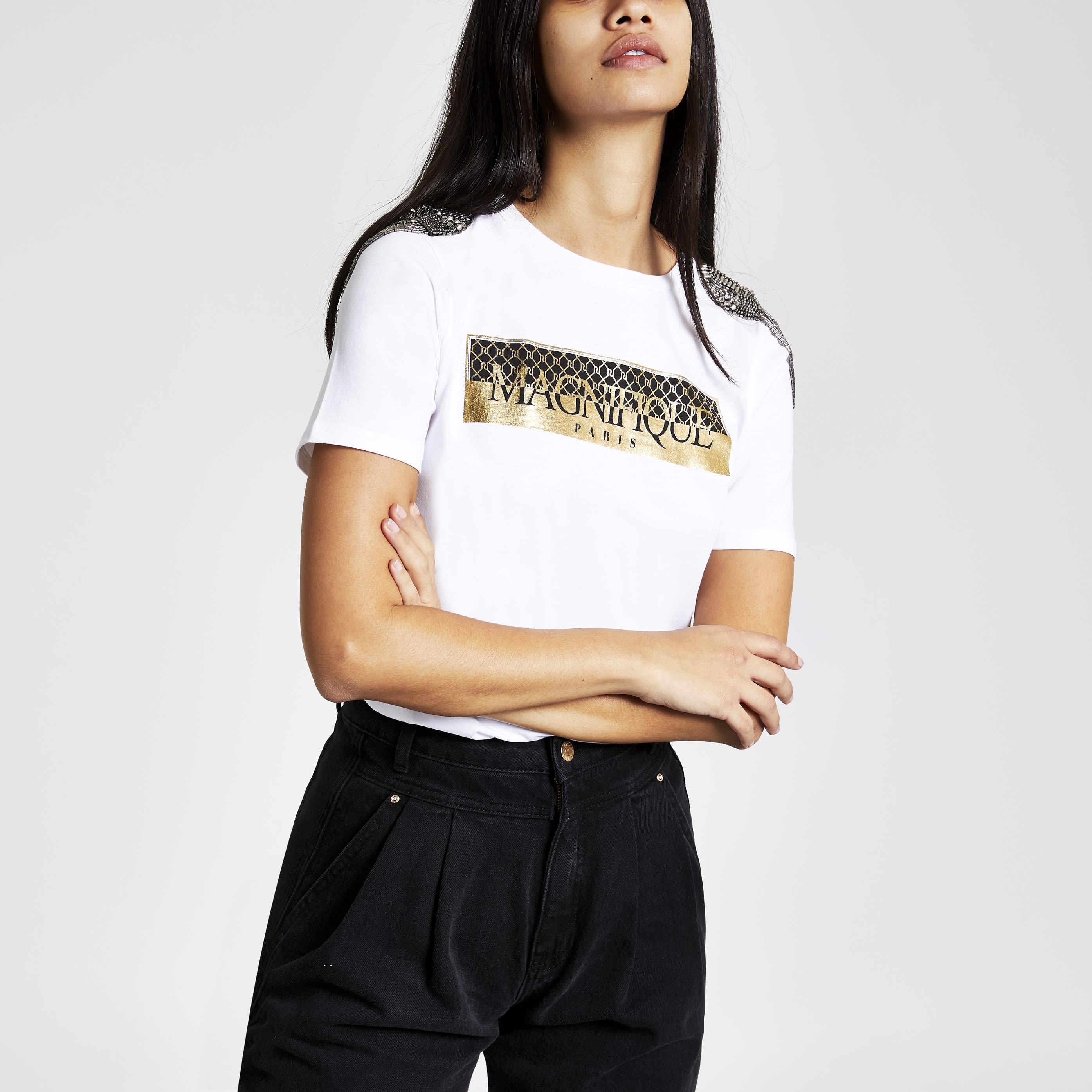 River Island Womens White print shoulder embellished T-shirt (12)