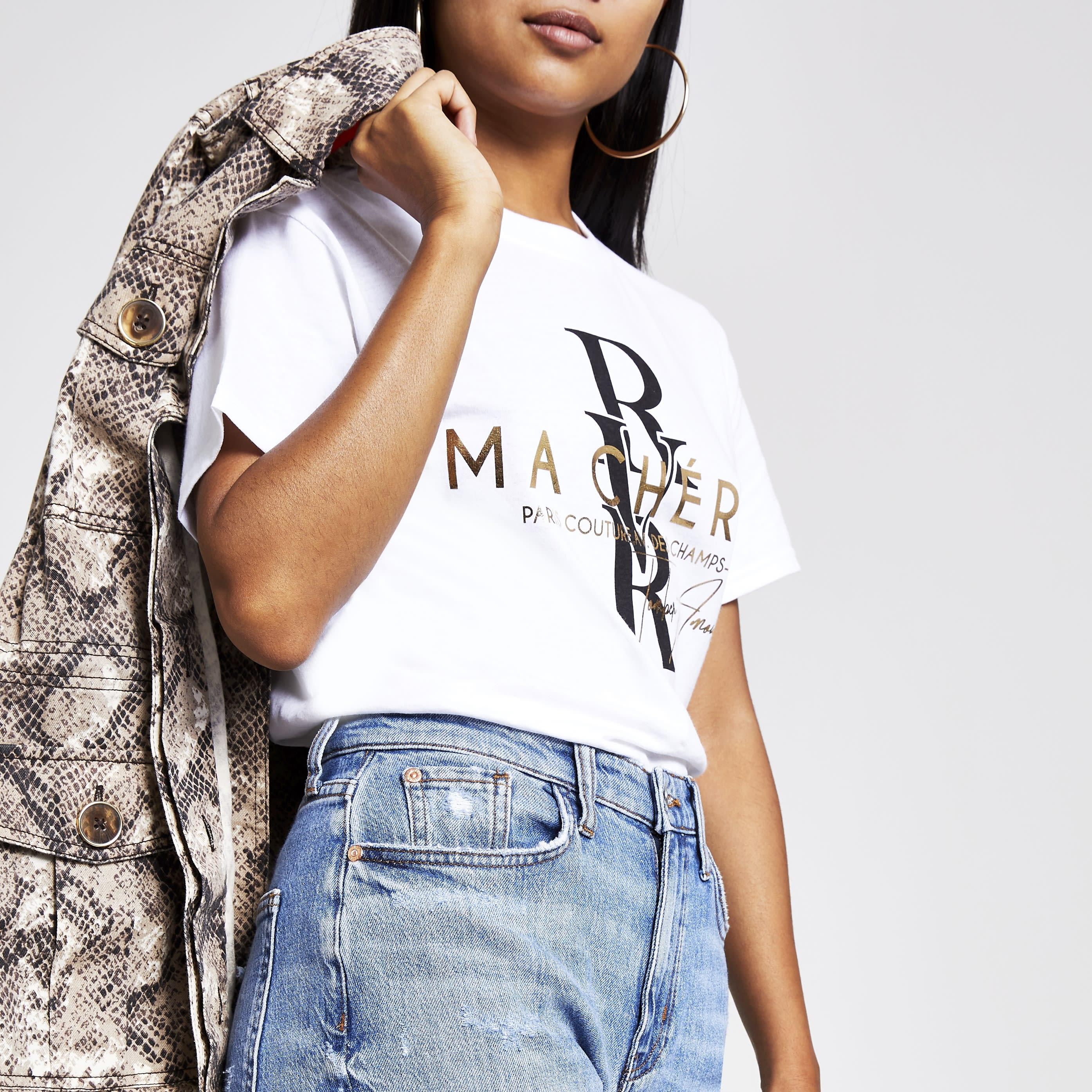 River Island Womens Petite White foil print cropped T-shirt (L)