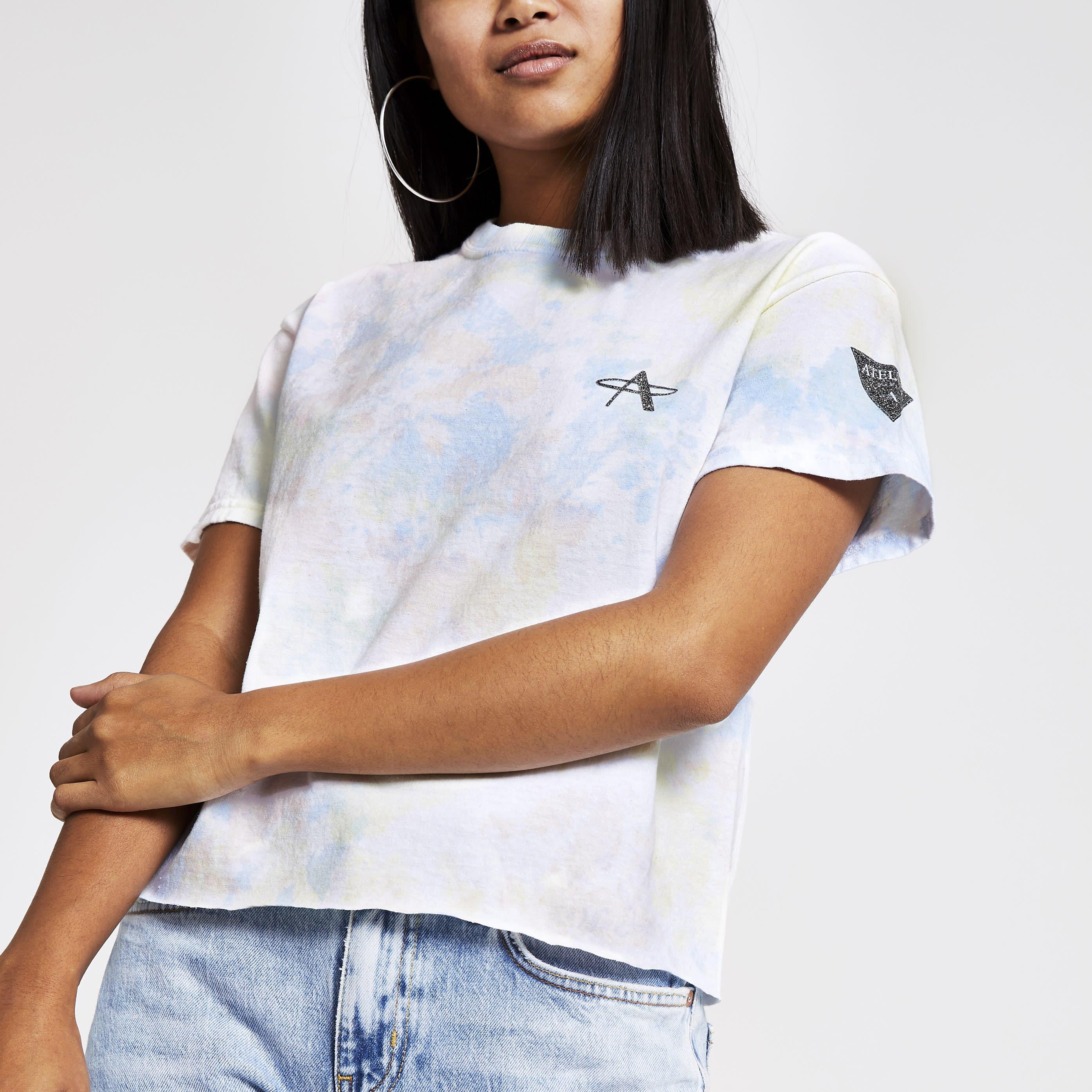 River Island Womens Petite White tie dye cropped T-shirt (S)