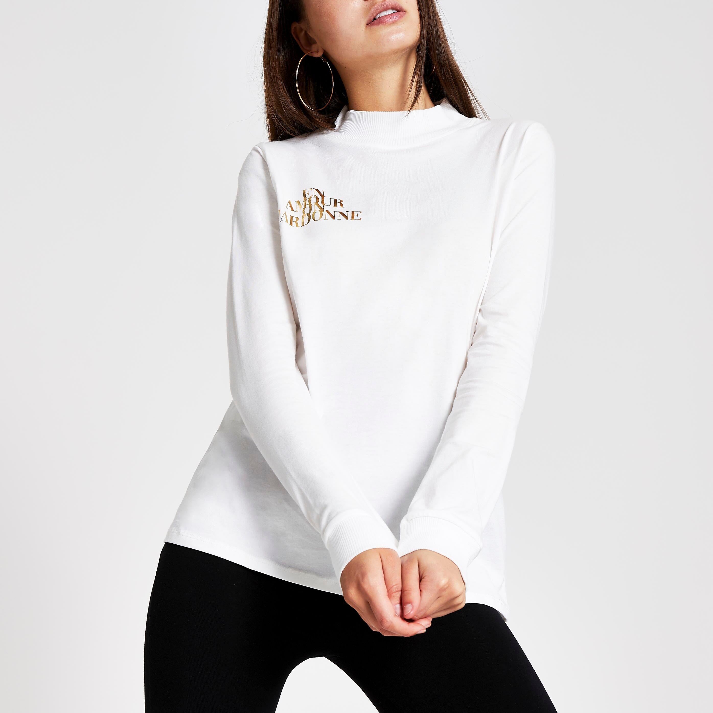 River Island Womens White high neck foil print T-shirt (12)