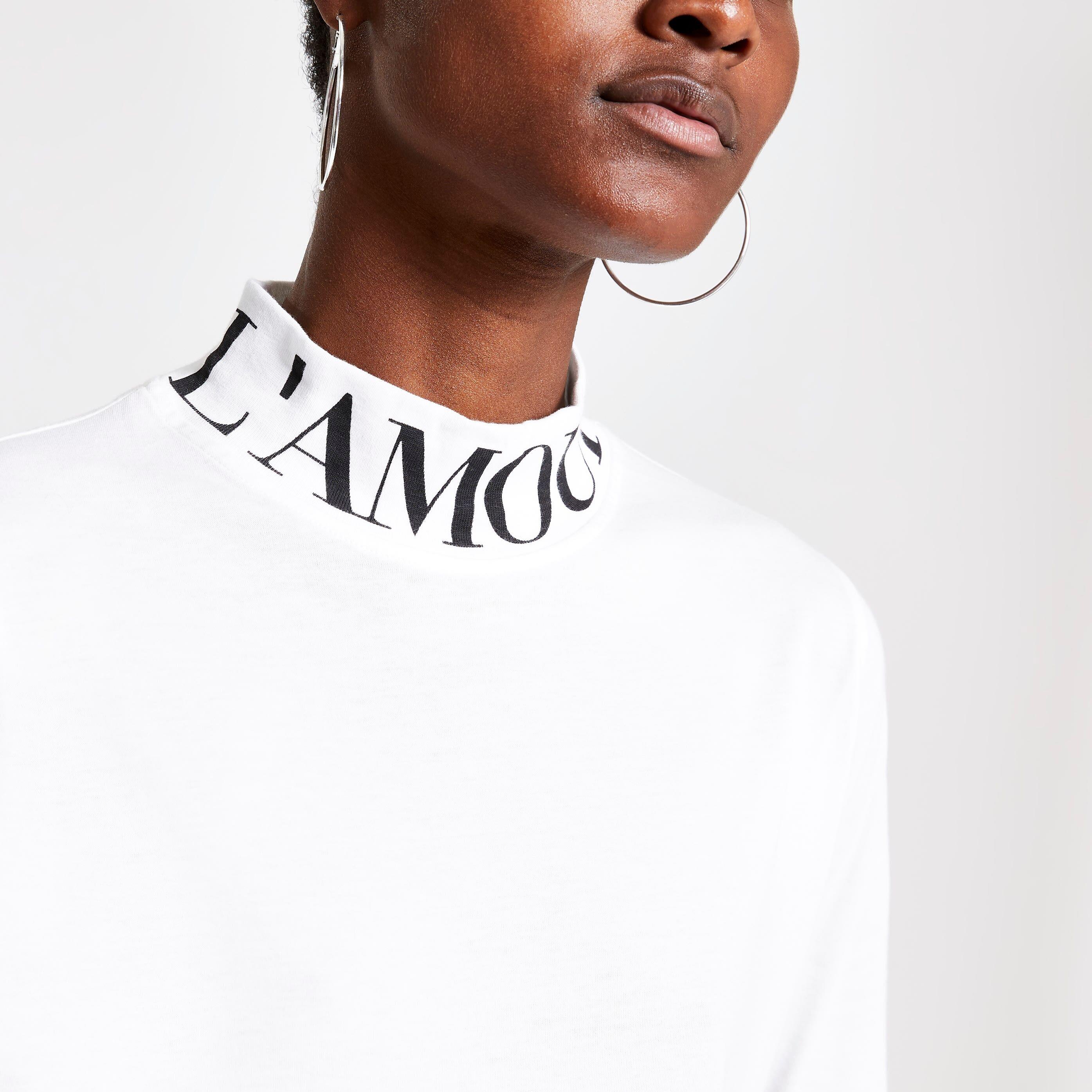 River Island Womens White high neck printed T-shirt (14)