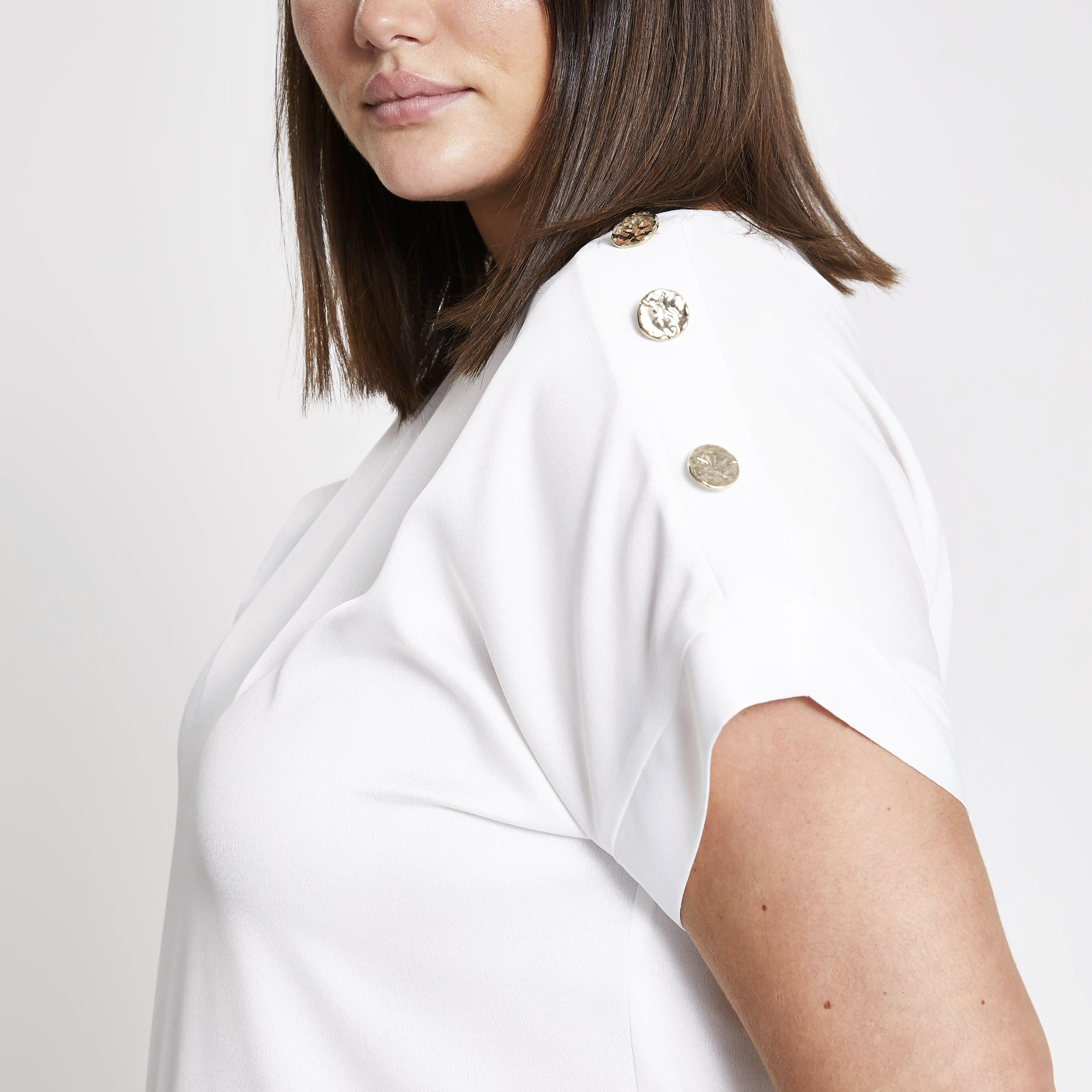 River Island Womens Plus Size White button shoulder T-shirt (20)