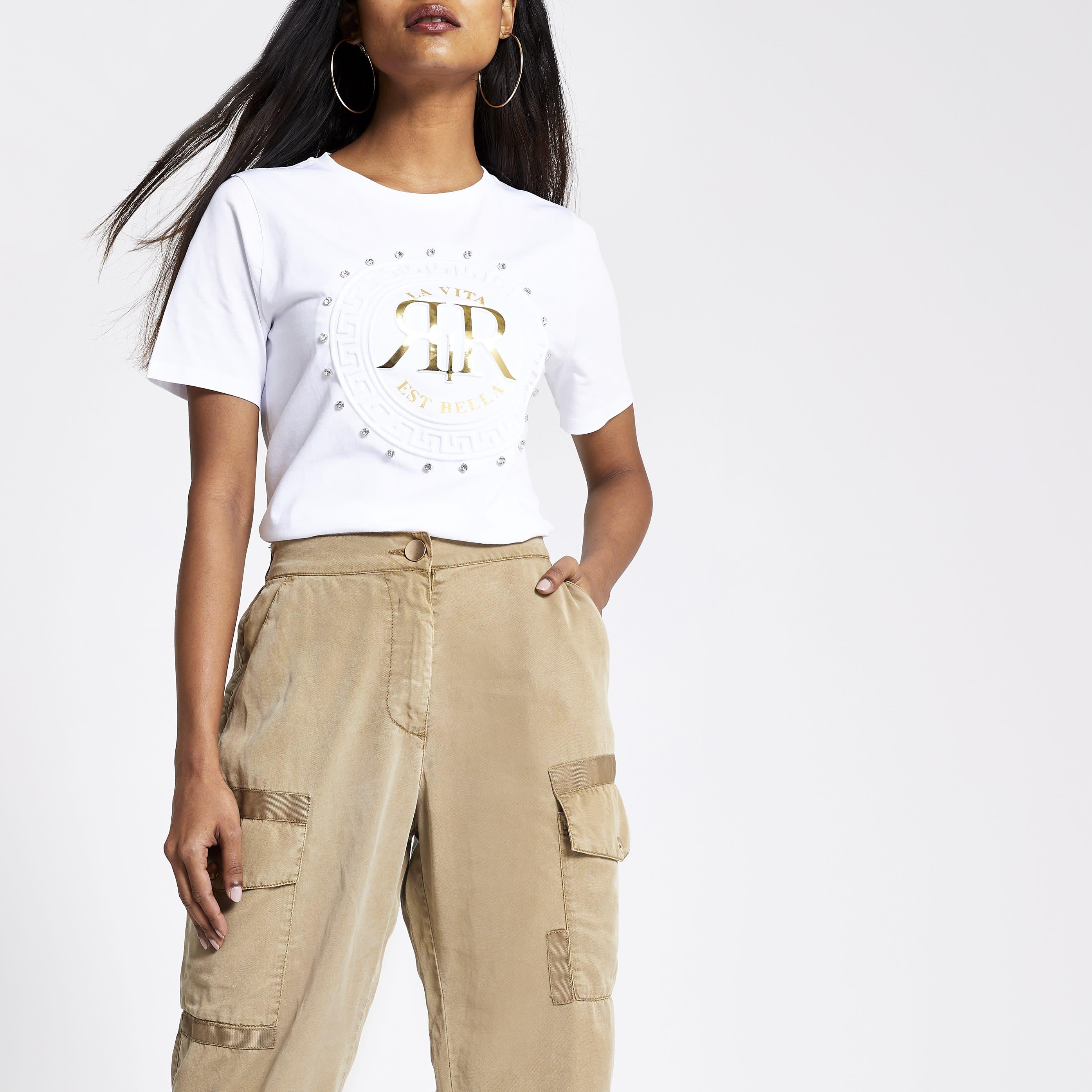 River Island Womens Petite White RI diamante T-shirt (10)