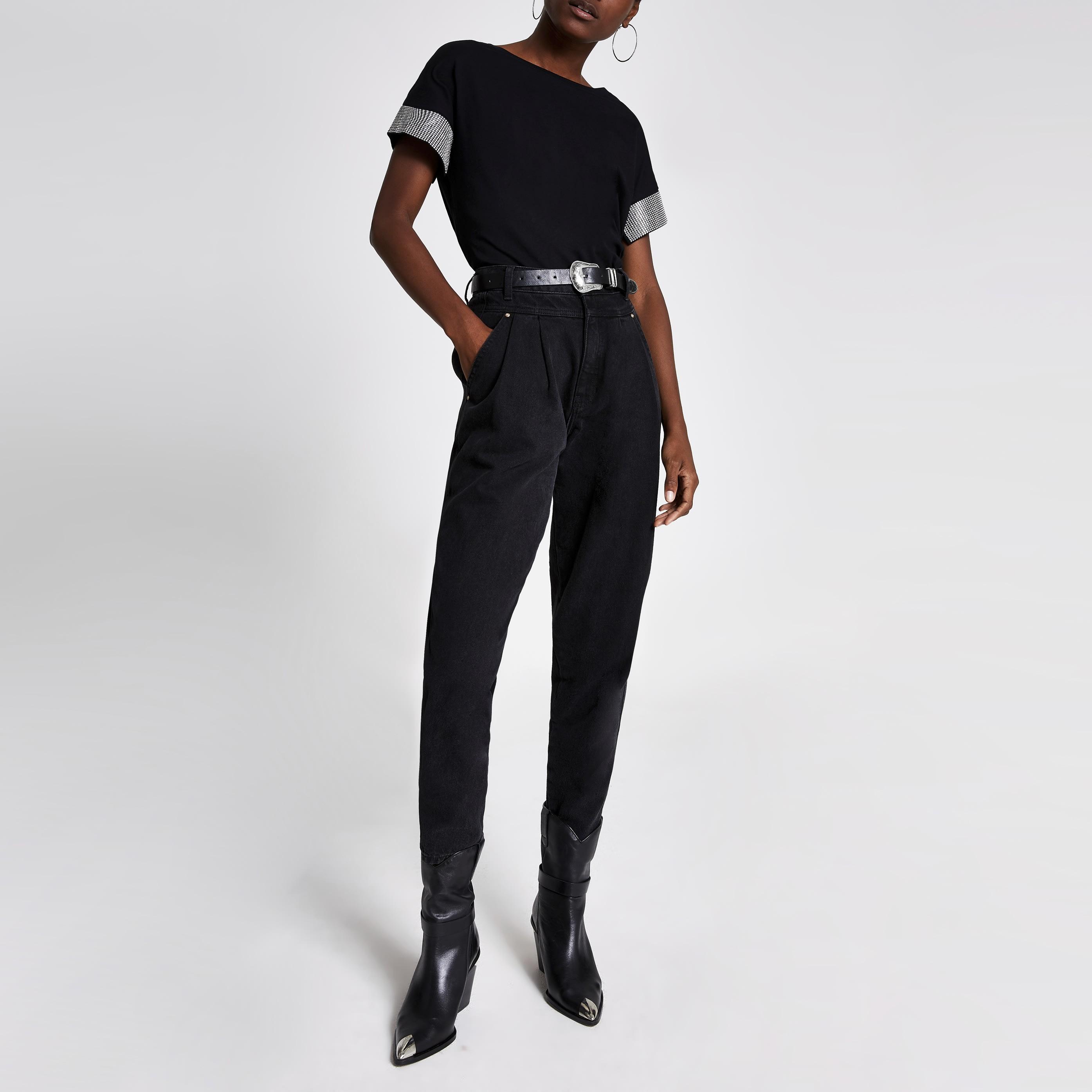 River Island Womens Black embellished cuff short sleeve T-shirt (14)