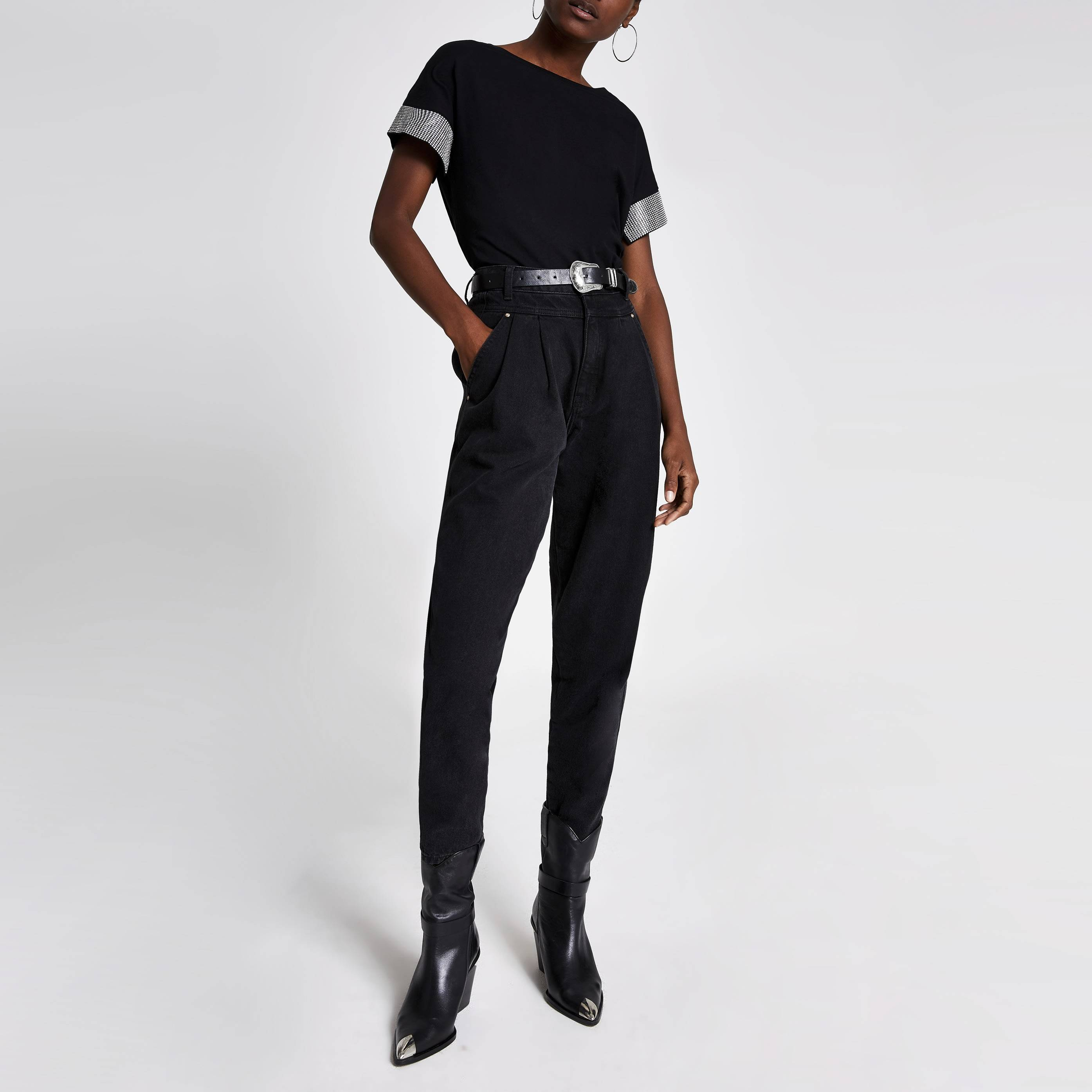 River Island Womens Black embellished cuff short sleeve T-shirt (8)