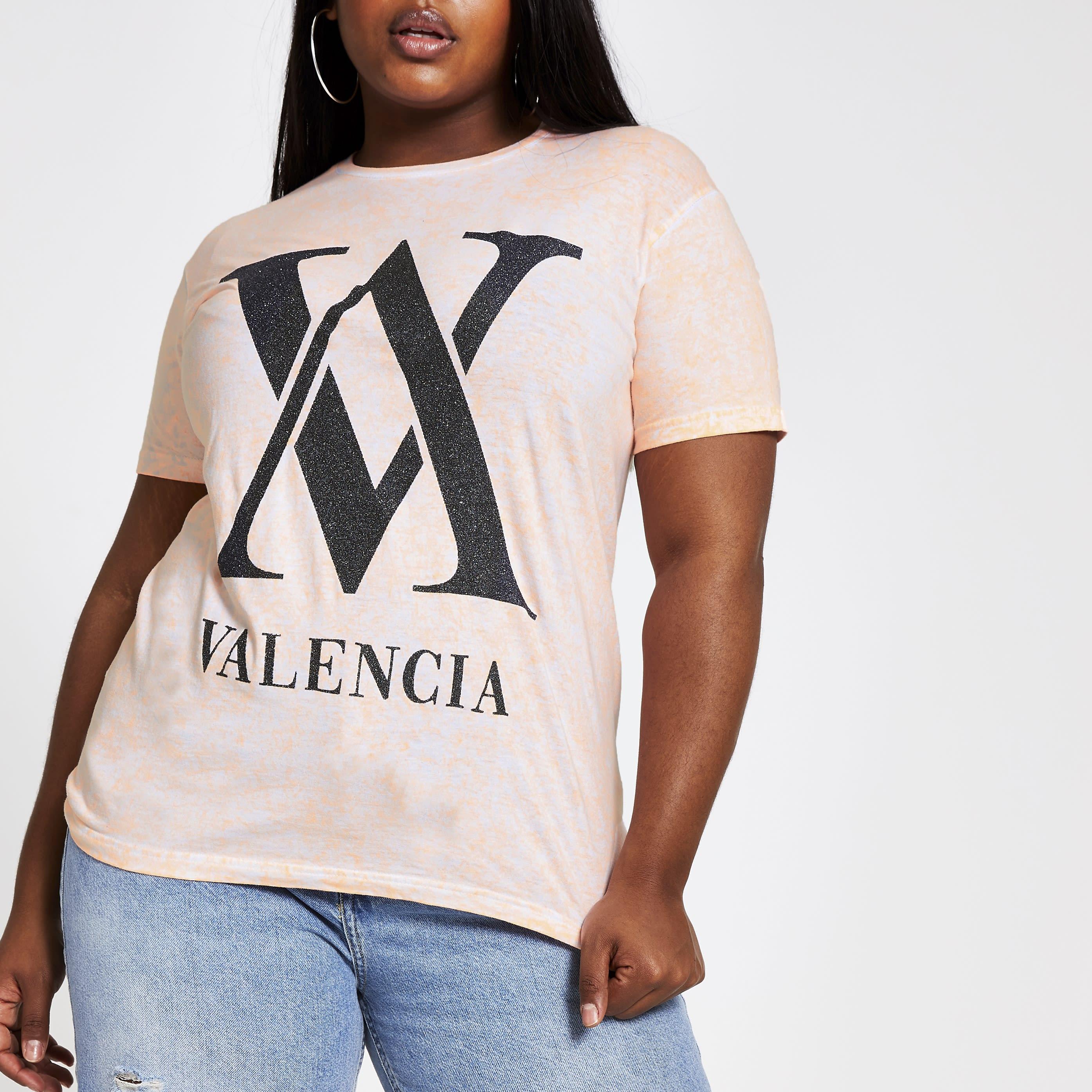 River Island Womens Plus Size Orange 'Valencia' tie dye T-shirt (20)