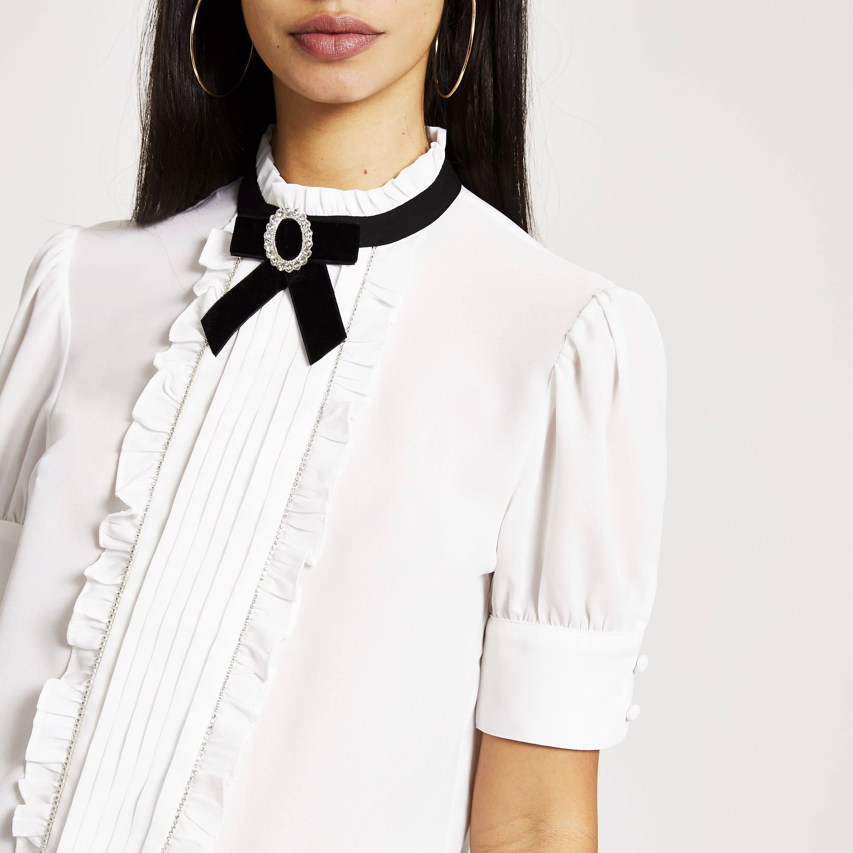 River Island Womens White bow embellished collar frill blouse (10)
