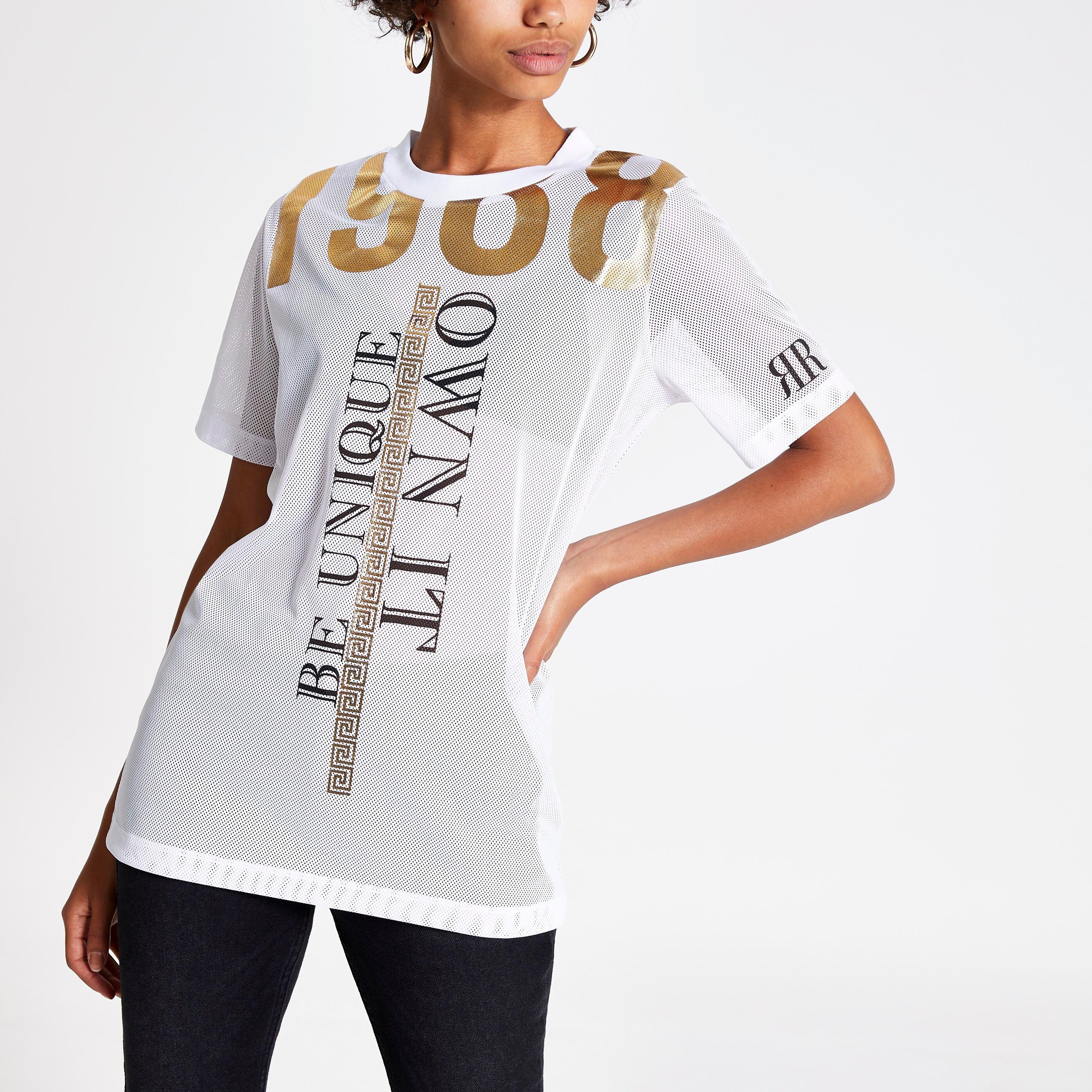 River Island Womens White 'Be Unique' mesh T-shirt (8)