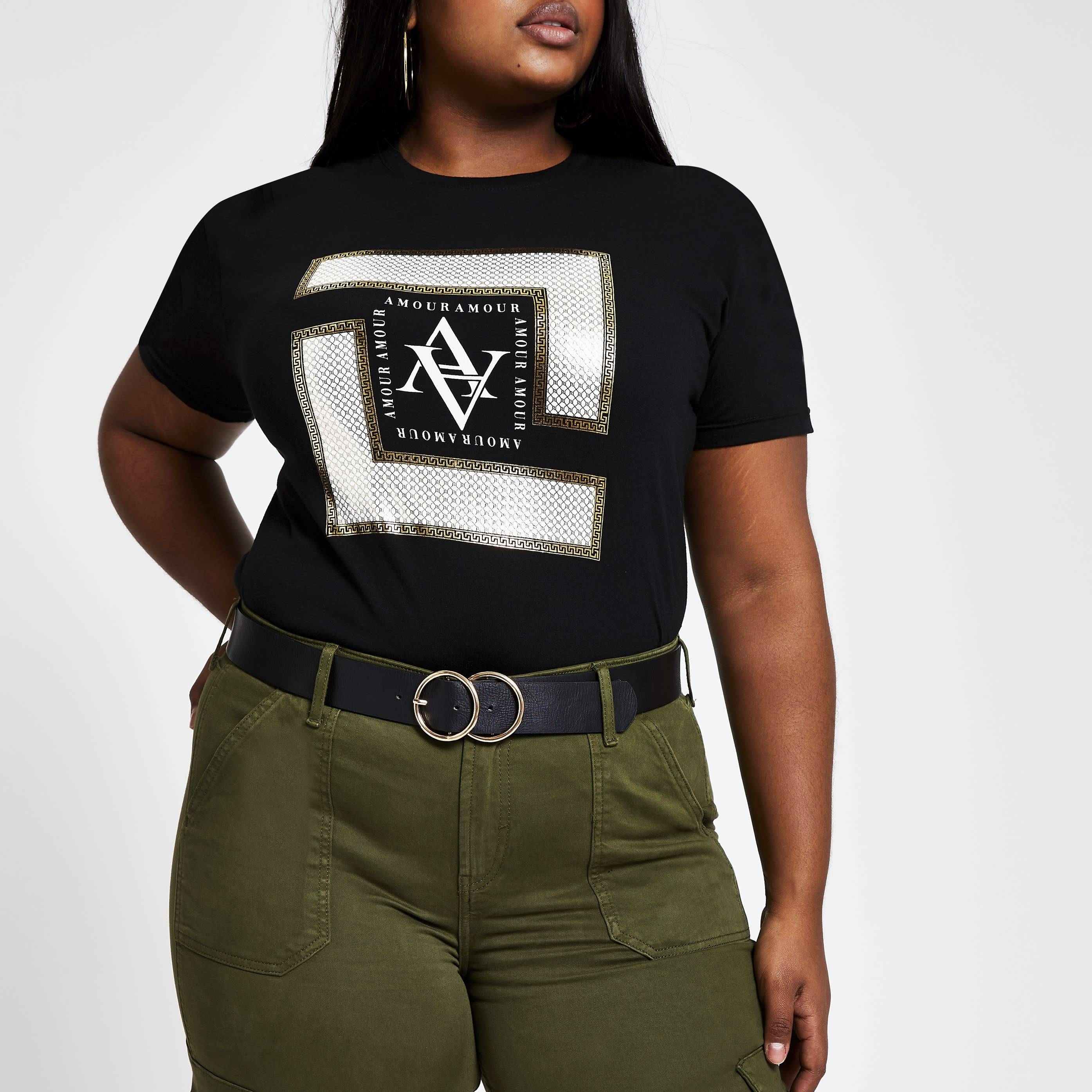 River Island Womens Plus Size Black foil print T-shirt (22)
