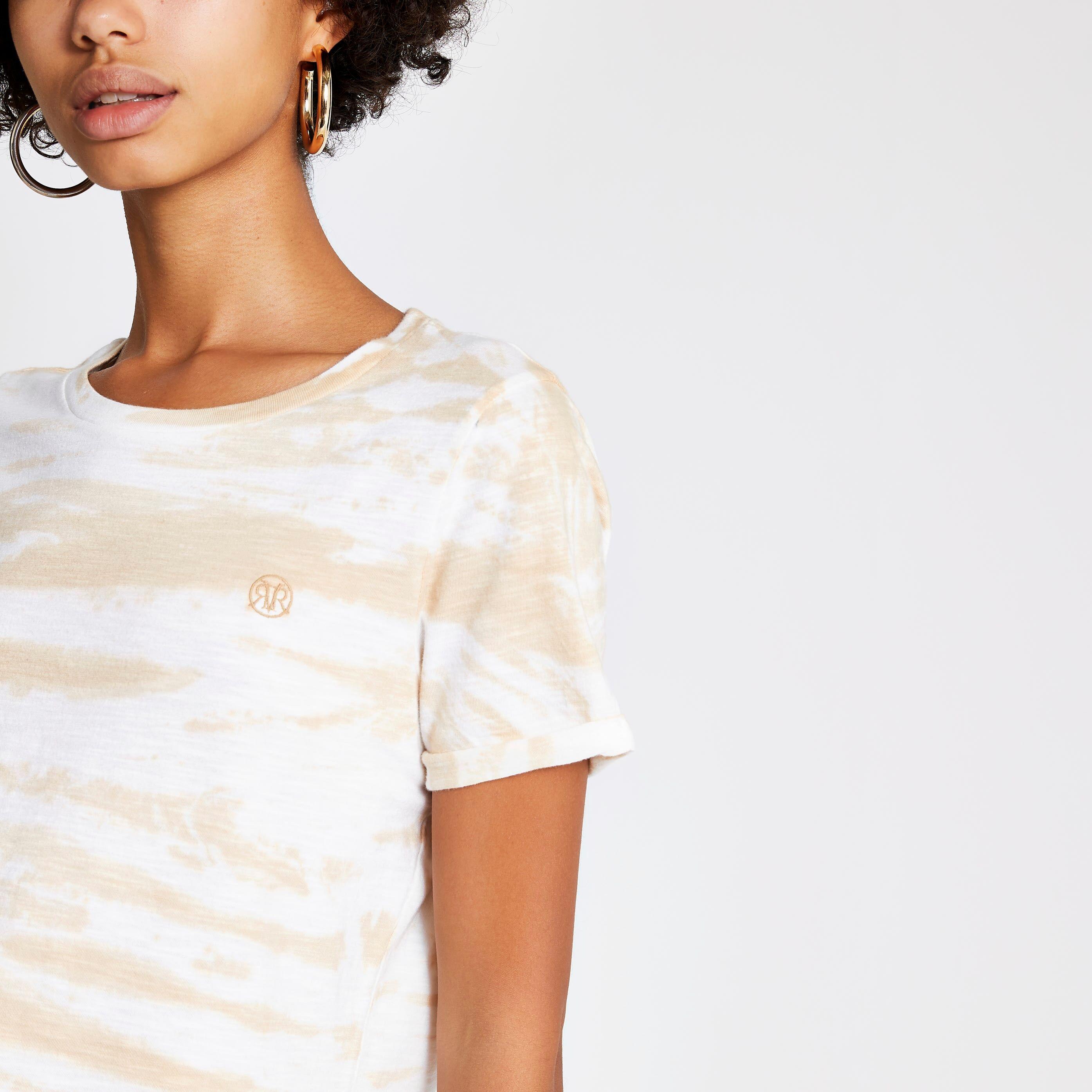 River Island Womens Beige tie dye RI turn up sleeve T-shirt (8)